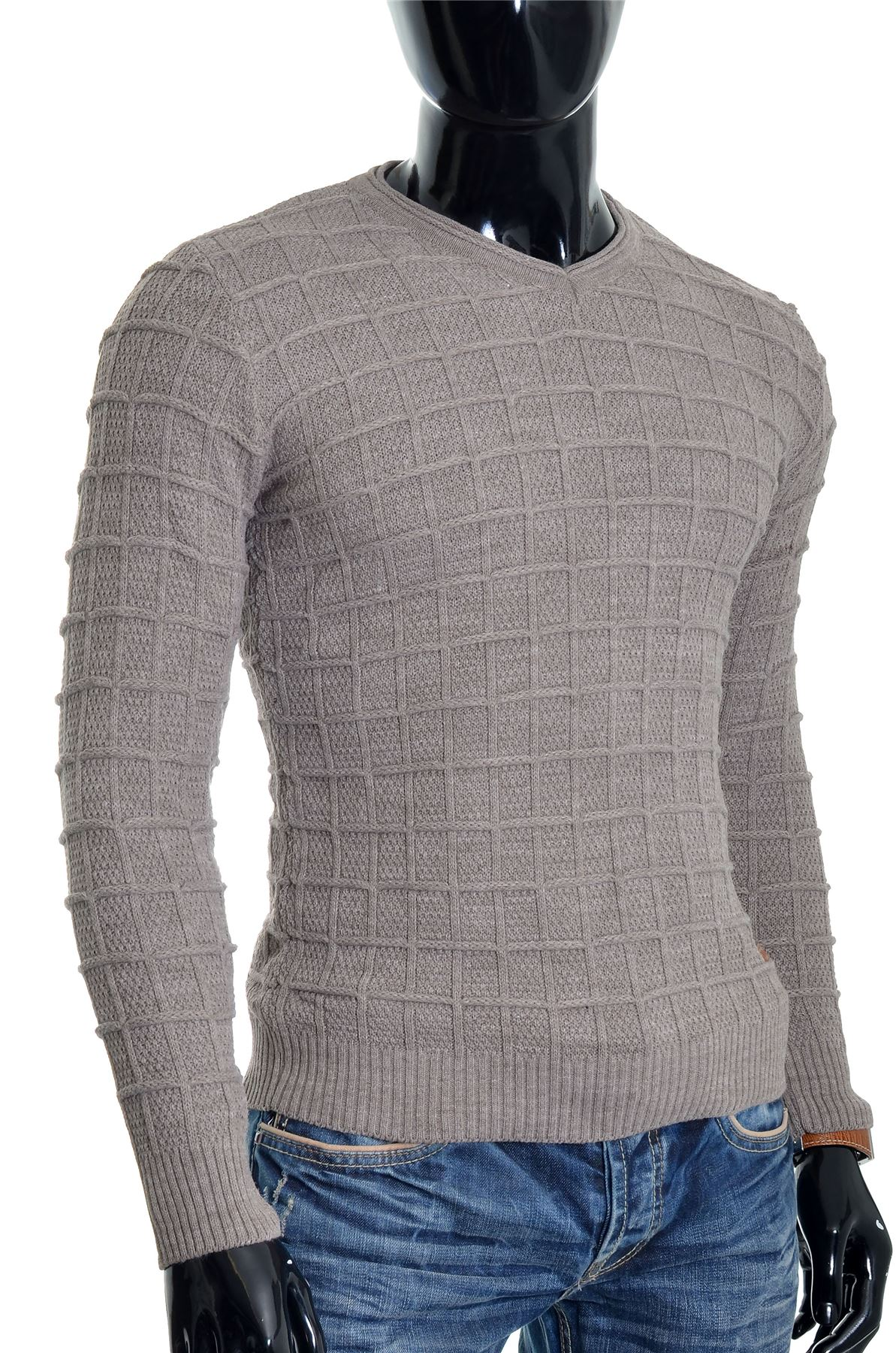 D-amp-R-Men-039-s-Wool-Jumper-Knit-Smart-Long-Sleeve-Sweater-Crew-Neck-Check-Top-Slim thumbnail 4