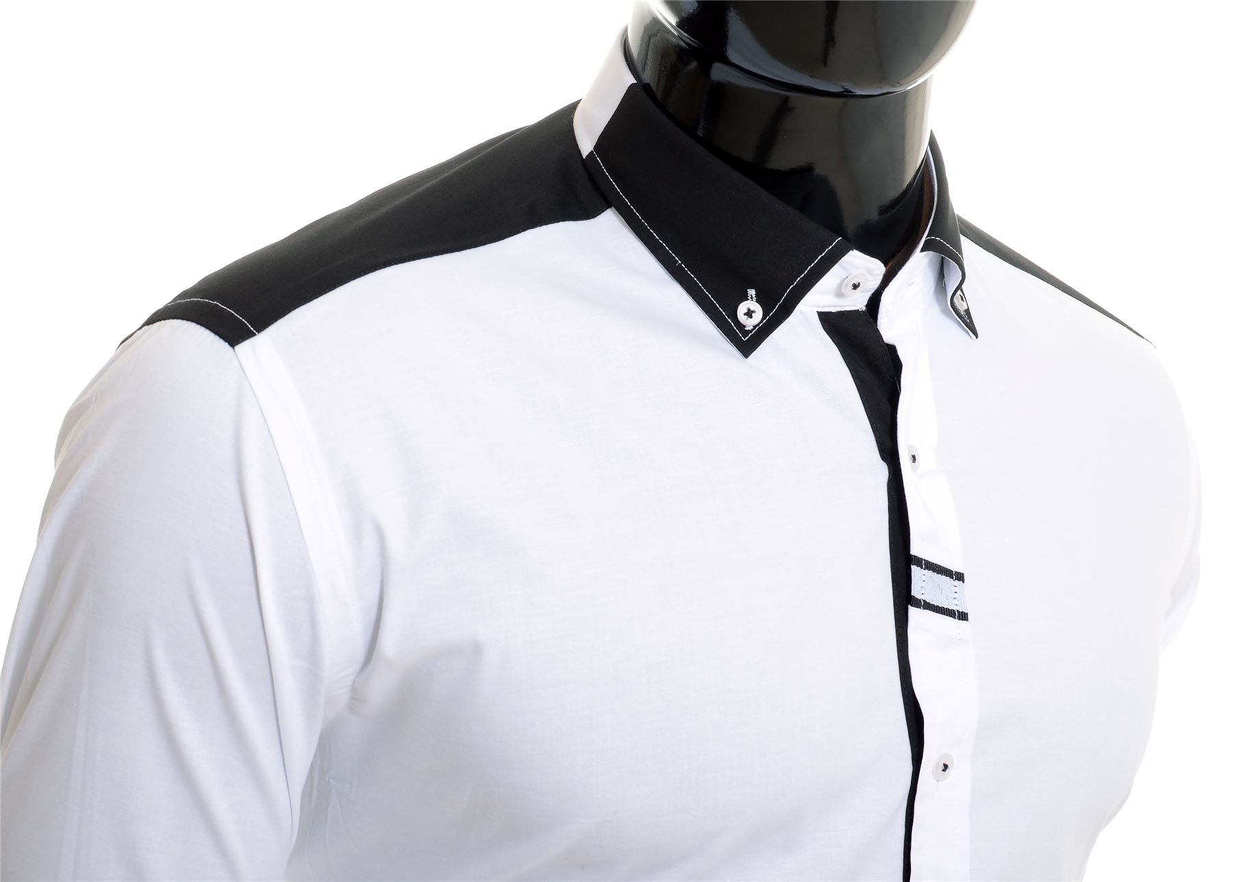 Cipo-amp-Baxx-Designer-Men-039-s-Elegant-Shirt-White-Black-Cotton-Slim-Contrast-Cuffs thumbnail 13