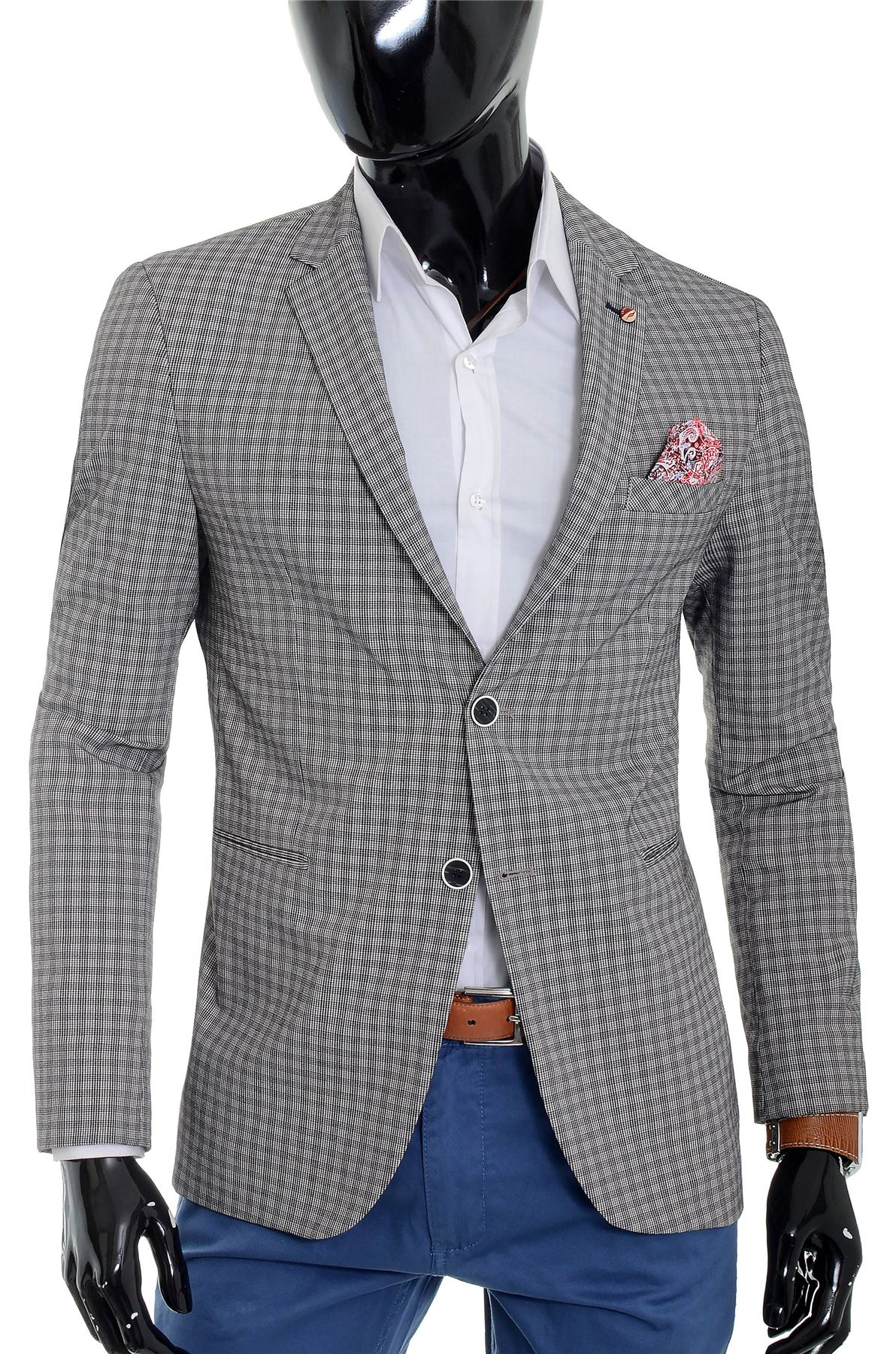 Mens-Checkered-Blazer-Jacket-Formal-Blue-Brown-Paisley-Finish-Cotton-Regular-Fit thumbnail 18
