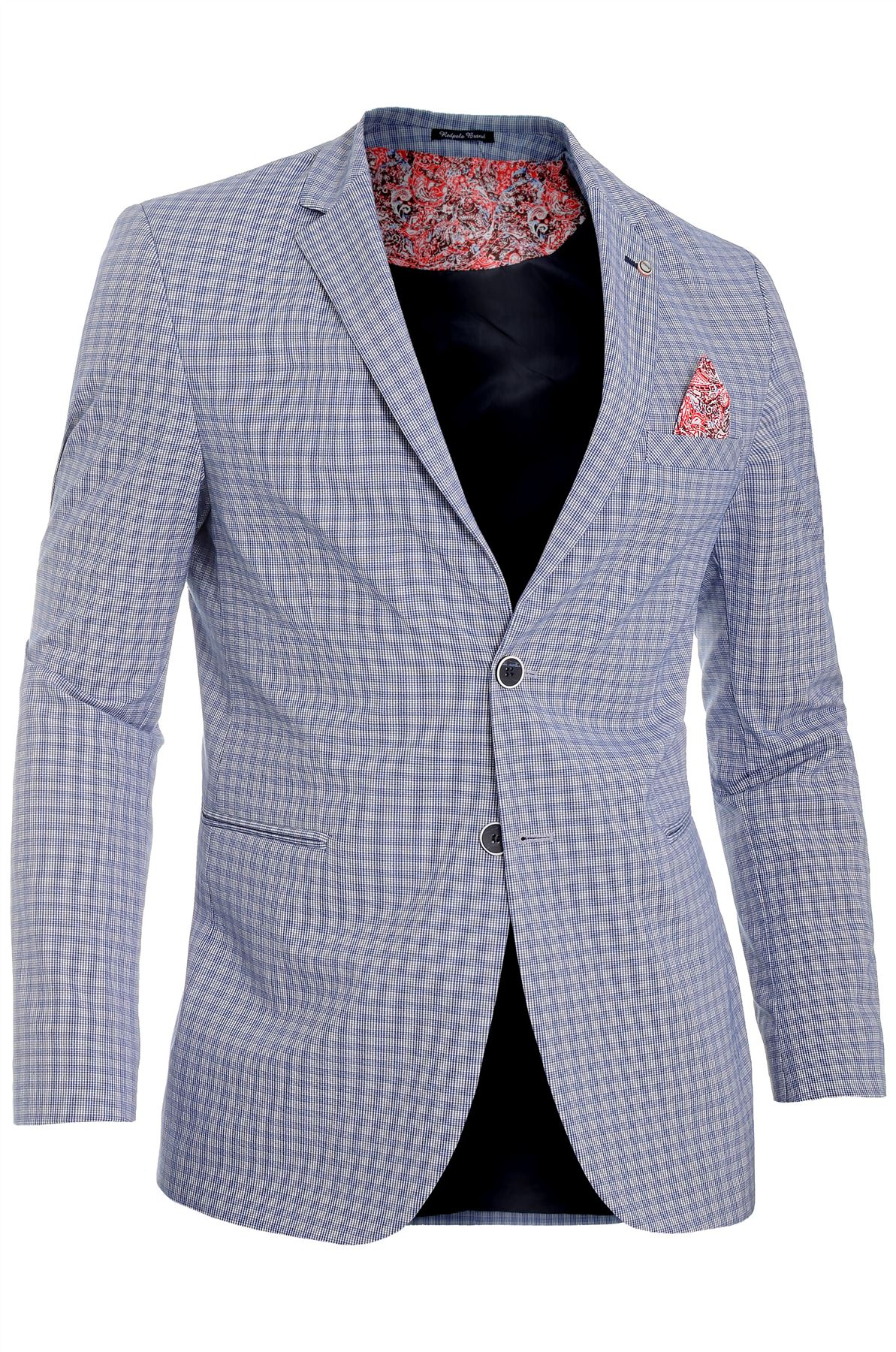 Mens-Checkered-Blazer-Jacket-Formal-Blue-Brown-Paisley-Finish-Cotton-Regular-Fit thumbnail 10