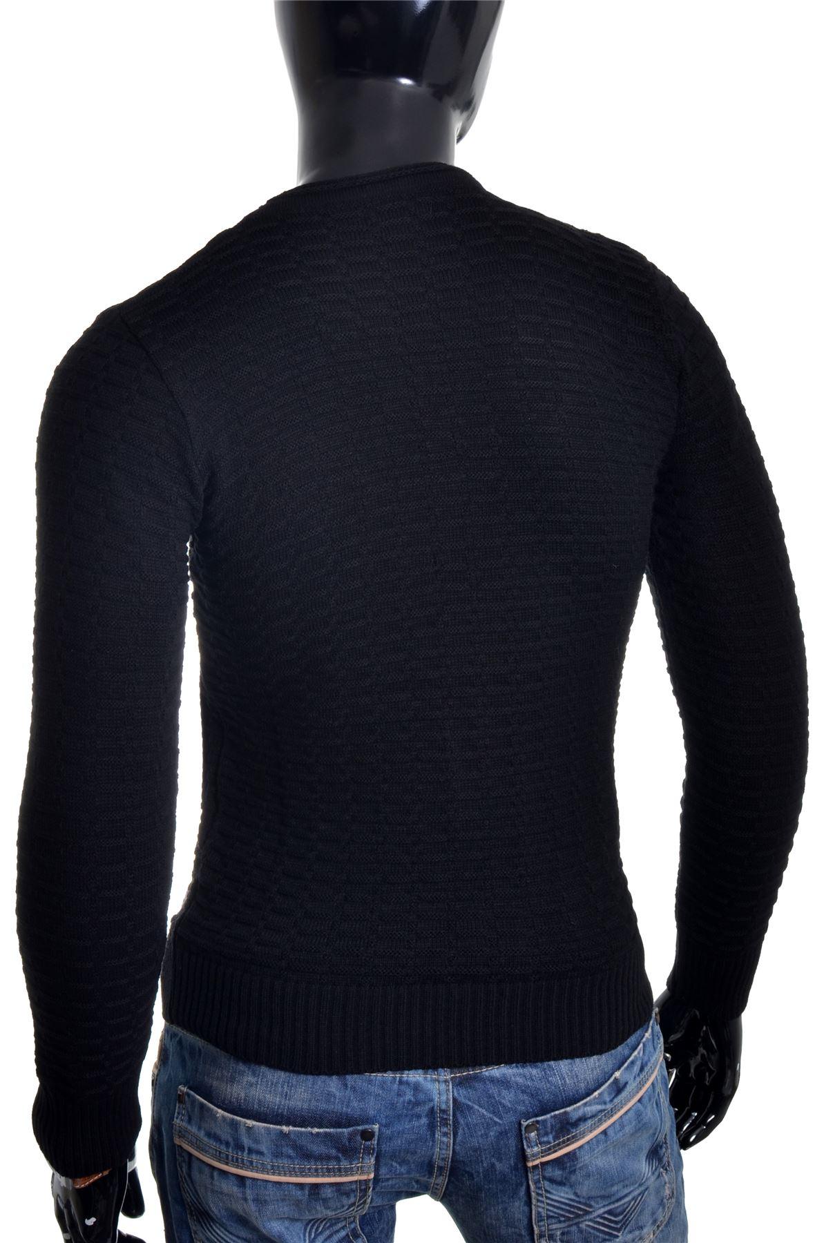 Men-039-s-Jumper-Striped-Knit-Smart-Long-Sleeve-Sweater-Crew-Neck-Top-Slim-Fitness thumbnail 11