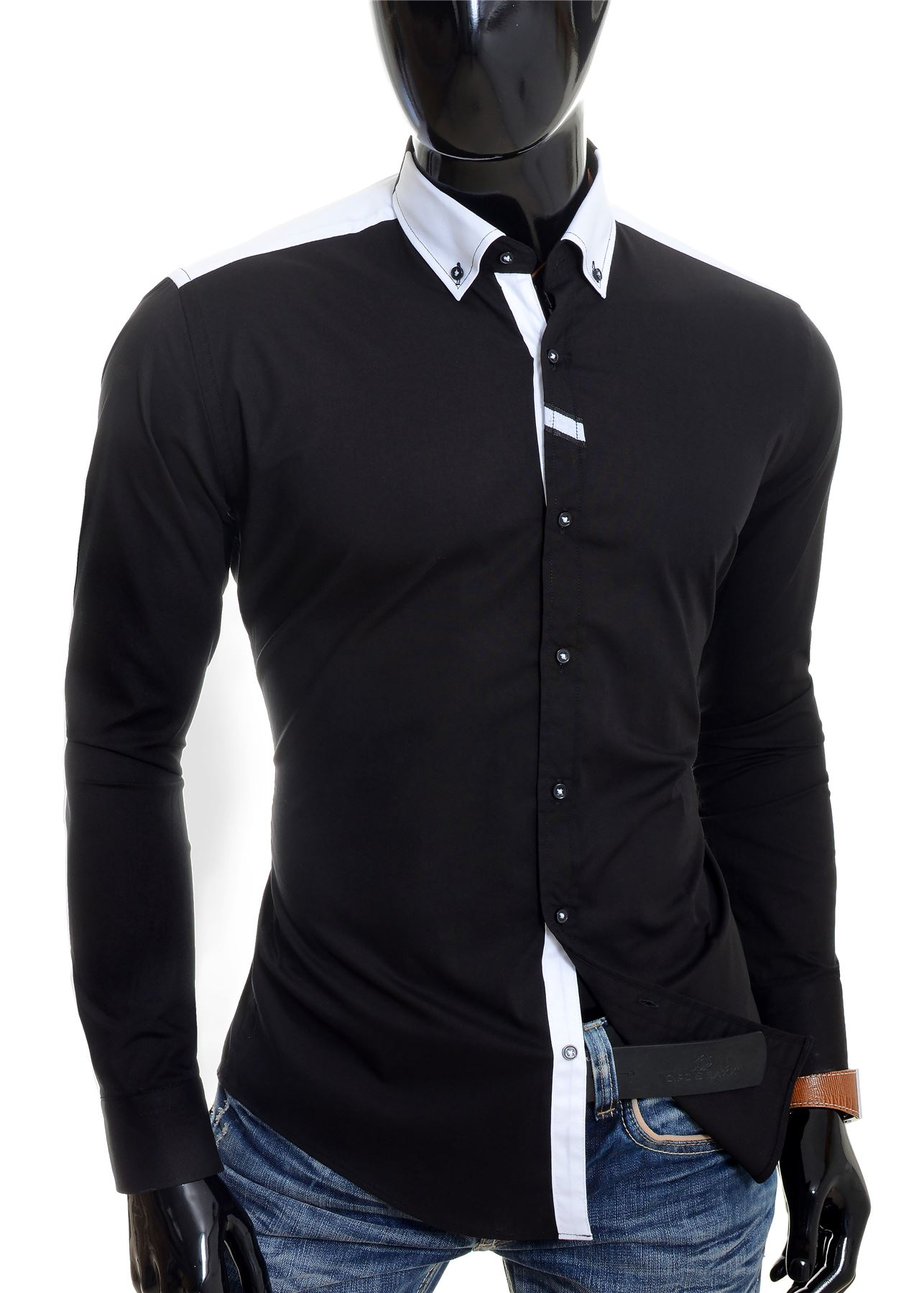 Cipo-amp-Baxx-Designer-Men-039-s-Elegant-Shirt-White-Black-Cotton-Slim-Contrast-Cuffs thumbnail 4