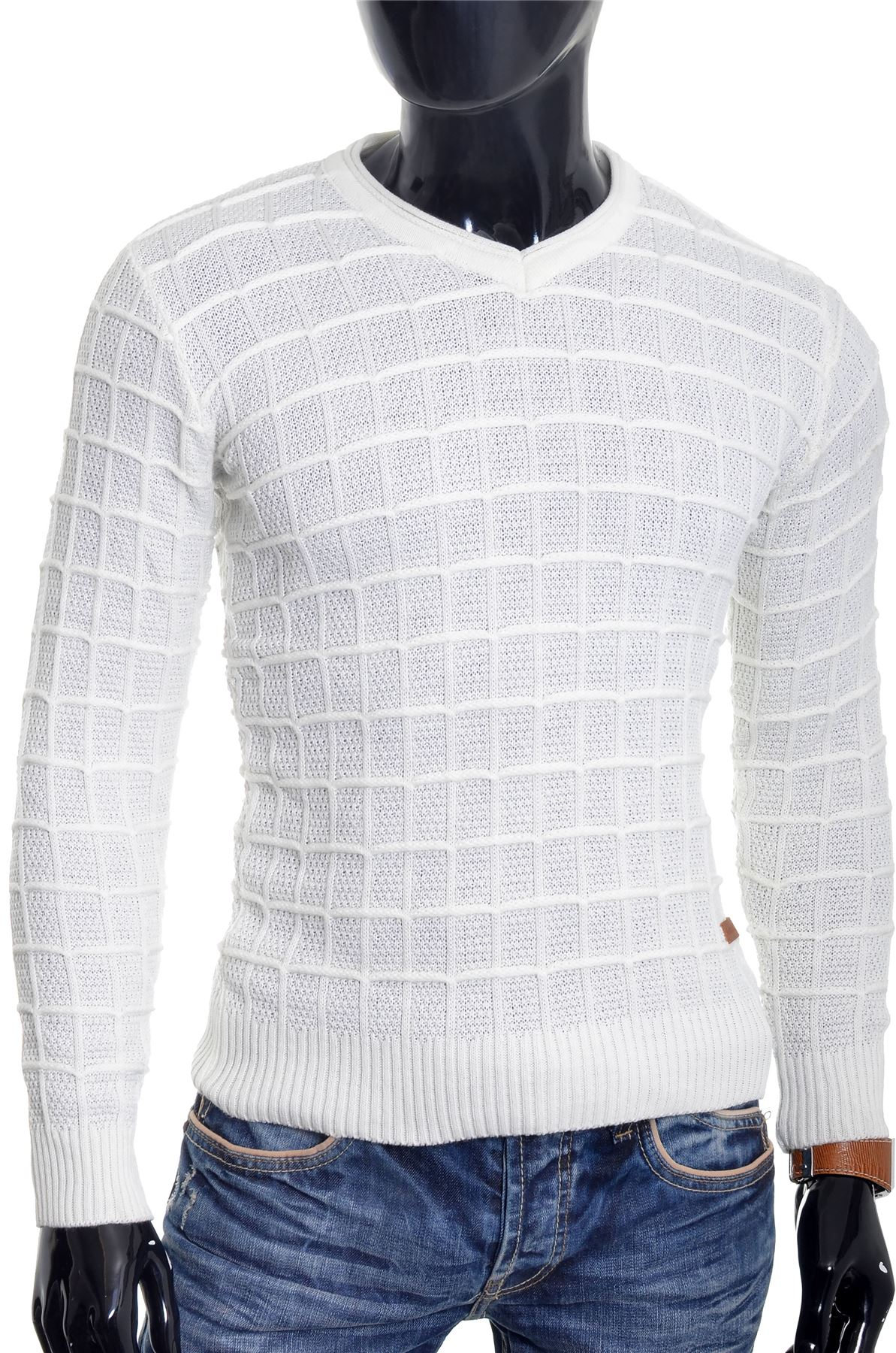 D-amp-R-Men-039-s-Wool-Jumper-Knit-Smart-Long-Sleeve-Sweater-Crew-Neck-Check-Top-Slim thumbnail 13