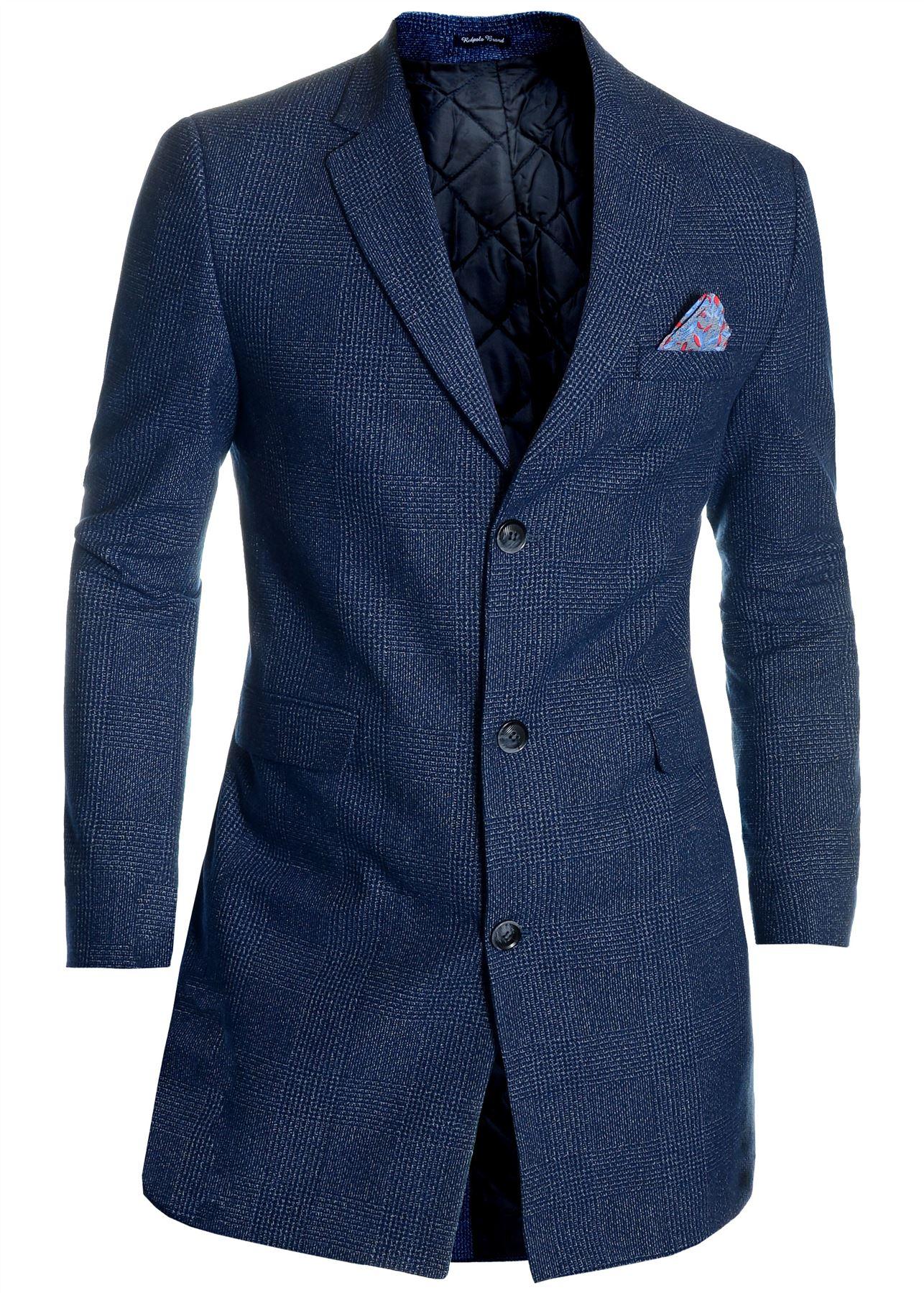 Men-039-s-Checkered-Coat-3-4-Long-Tweed-Cashmere-Wool-Trendy-Formal-Winter-Overcoat thumbnail 3