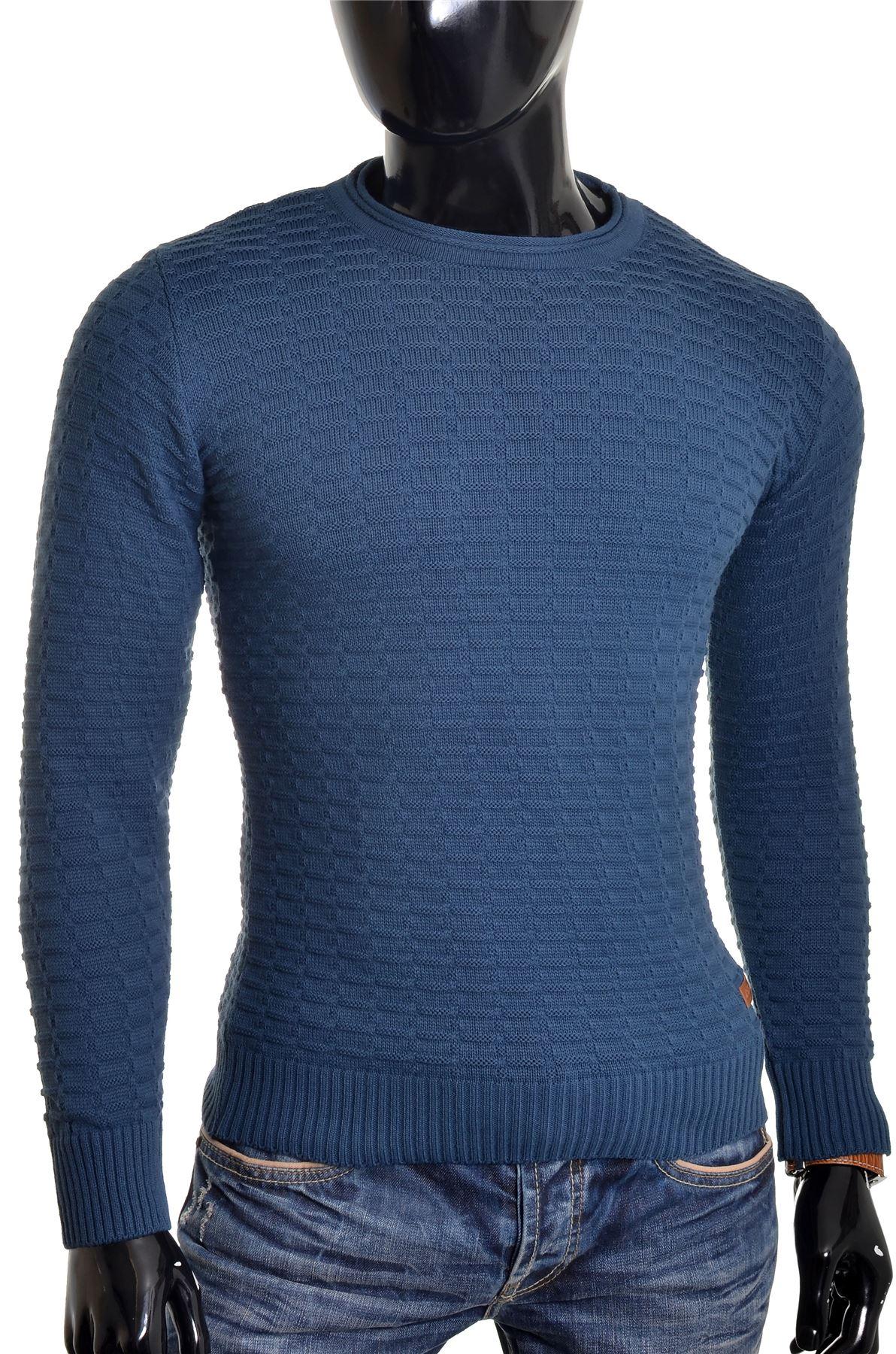 Men-039-s-Jumper-Striped-Knit-Smart-Long-Sleeve-Sweater-Crew-Neck-Top-Slim-Fitness thumbnail 18