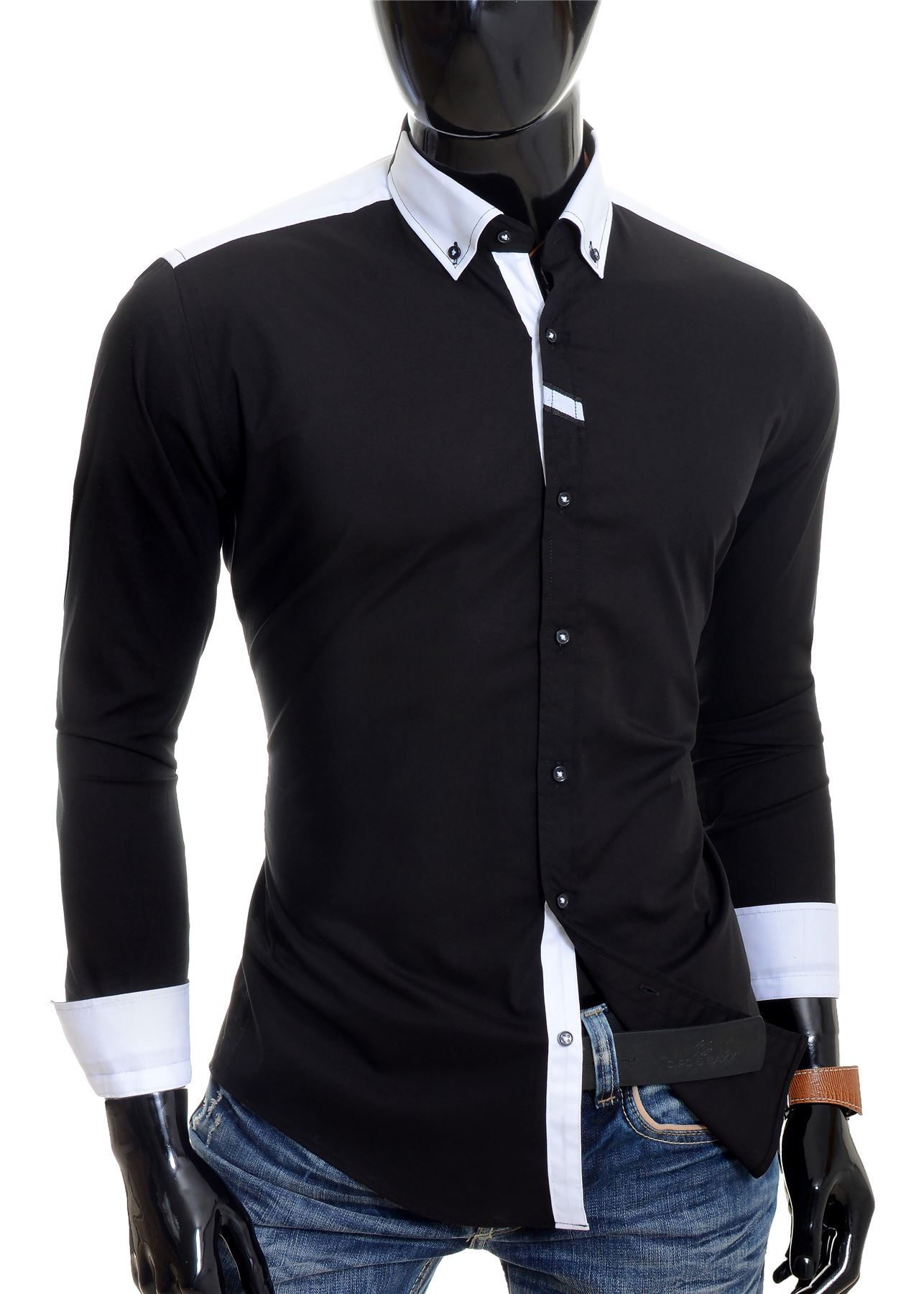 Cipo-amp-Baxx-Designer-Men-039-s-Elegant-Shirt-White-Black-Cotton-Slim-Contrast-Cuffs thumbnail 6