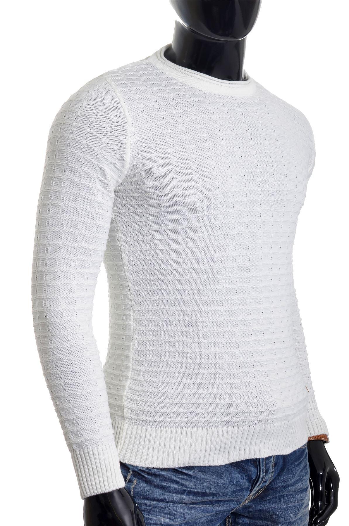 Men-039-s-Jumper-Striped-Knit-Smart-Long-Sleeve-Sweater-Crew-Neck-Top-Slim-Fitness thumbnail 14