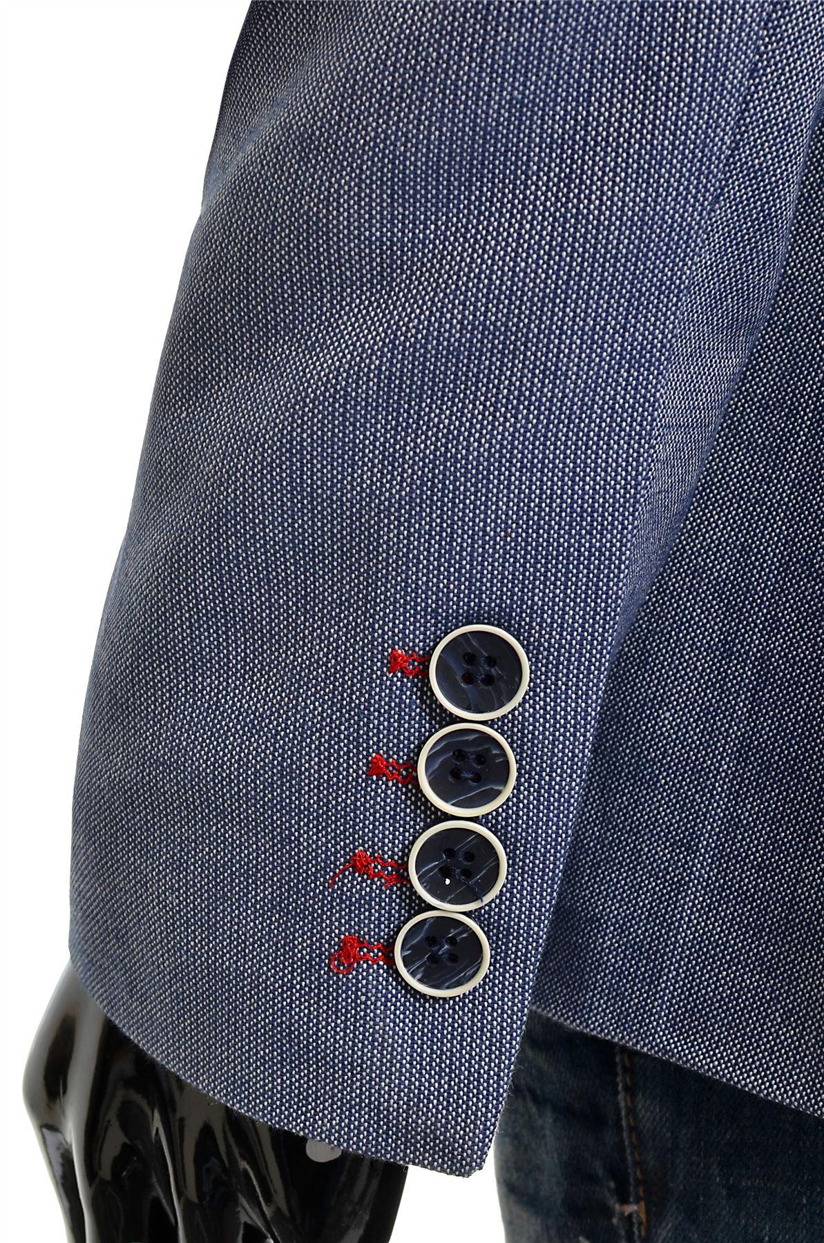 Hombre-Clasicos-Blazer-Chaqueta-Azul-Casual-Calce-cenido-acabado-rojo-de-negocios-de-algodon-suave