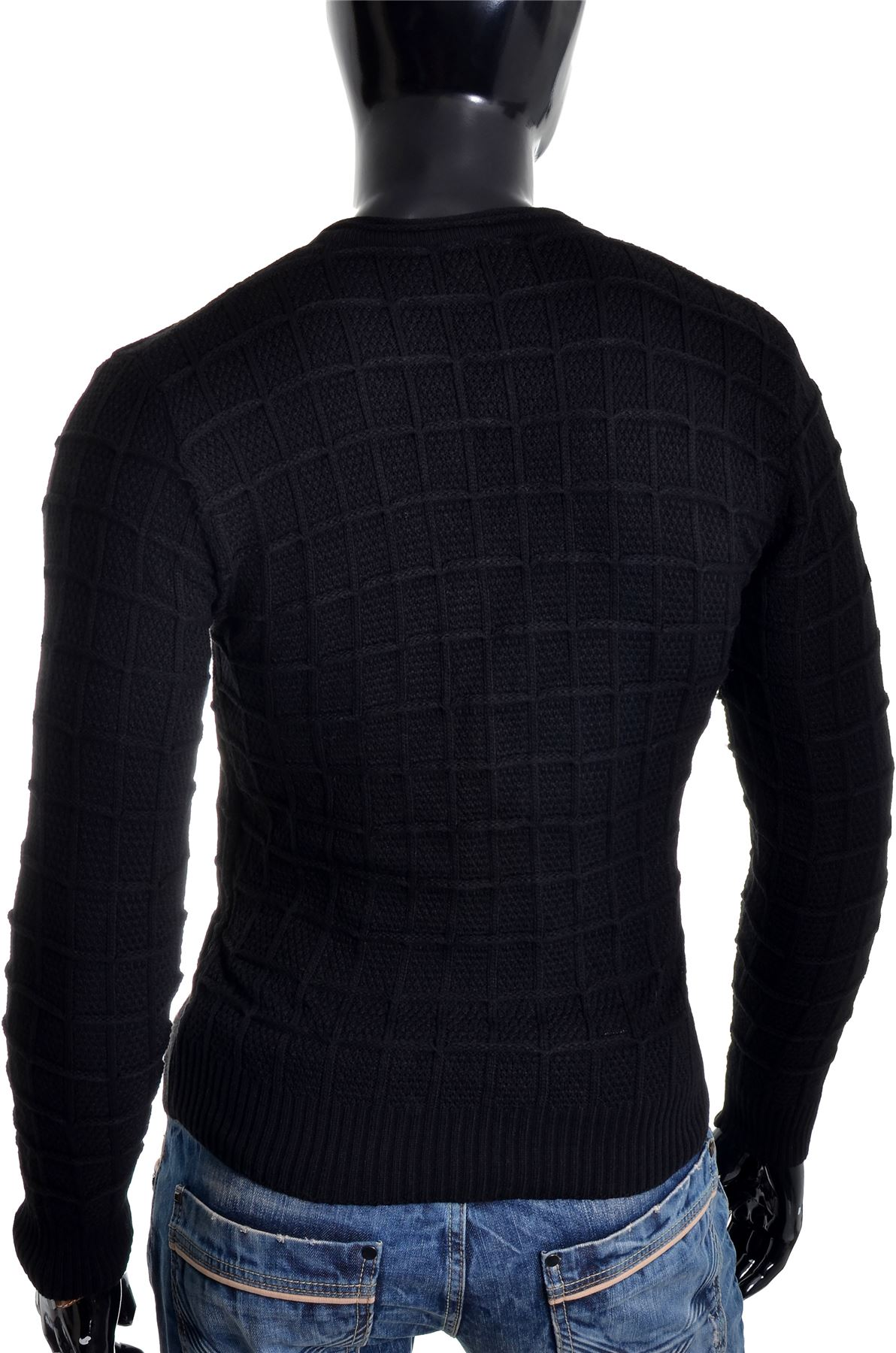D-amp-R-Men-039-s-Wool-Jumper-Knit-Smart-Long-Sleeve-Sweater-Crew-Neck-Check-Top-Slim thumbnail 11