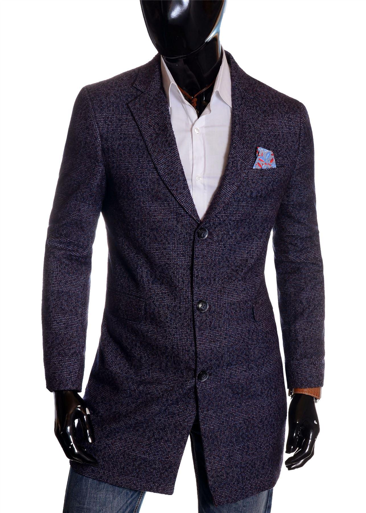 Men-039-s-Checkered-Coat-3-4-Long-Tweed-Cashmere-Wool-Trendy-Formal-Winter-Overcoat thumbnail 19