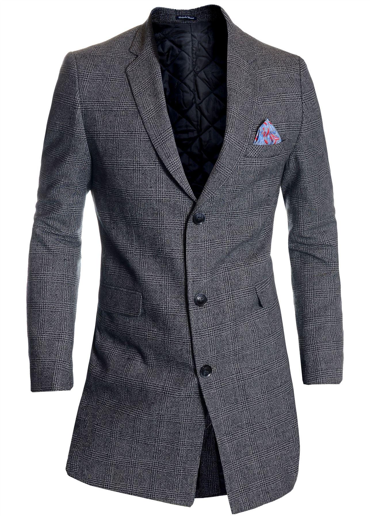 Men-039-s-Checkered-Coat-3-4-Long-Tweed-Cashmere-Wool-Trendy-Formal-Winter-Overcoat thumbnail 13
