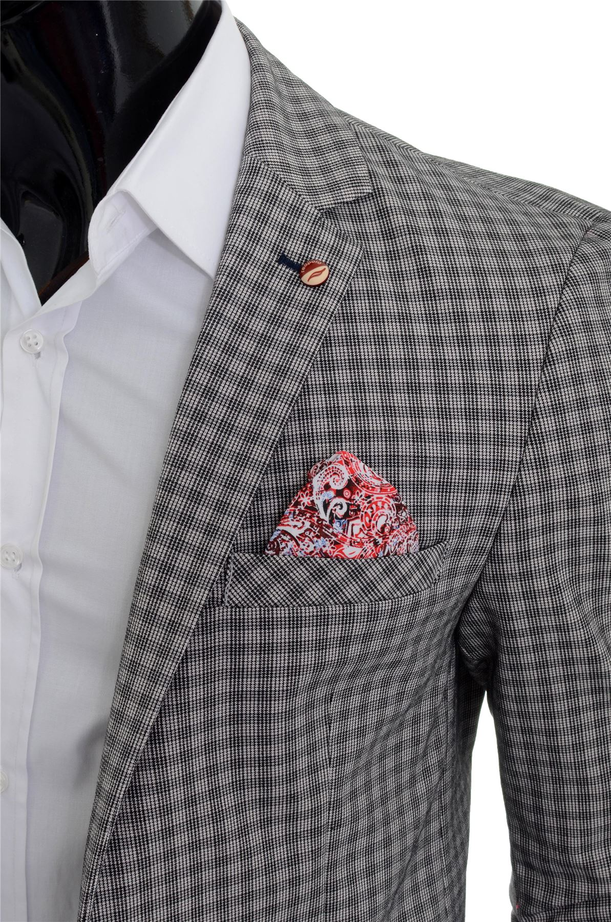 Mens-Checkered-Blazer-Jacket-Formal-Blue-Brown-Paisley-Finish-Cotton-Regular-Fit thumbnail 19