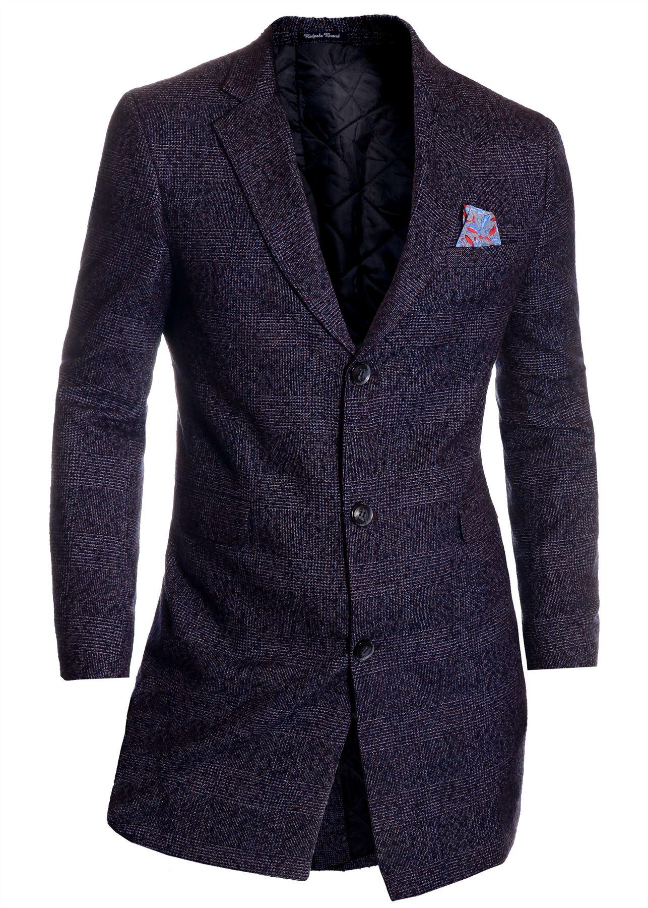 Men-039-s-Checkered-Coat-3-4-Long-Tweed-Cashmere-Wool-Trendy-Formal-Winter-Overcoat thumbnail 18