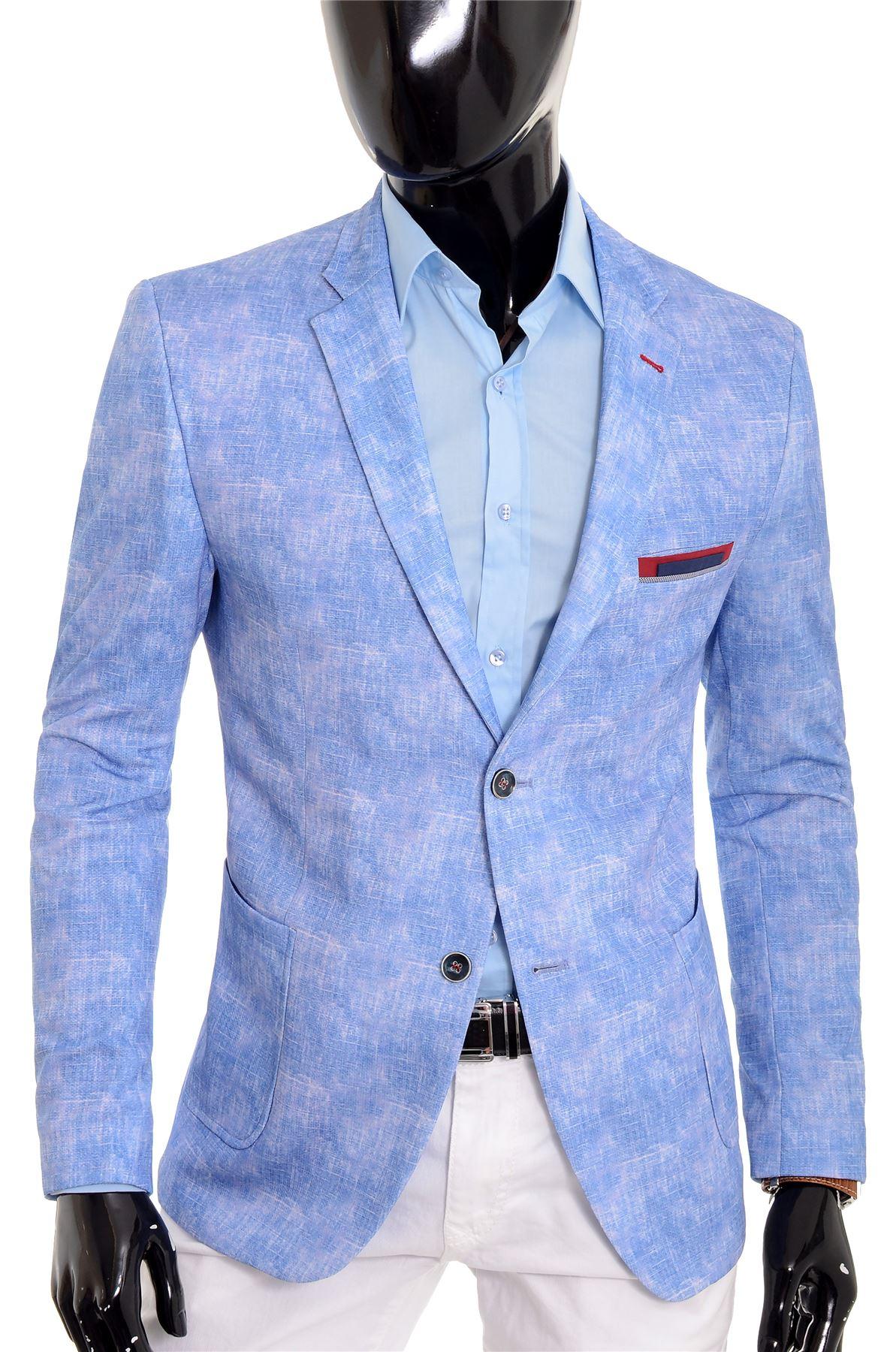 Men S Light Blue Blazer Jacket Casual Smart Slim Fit Summer Red
