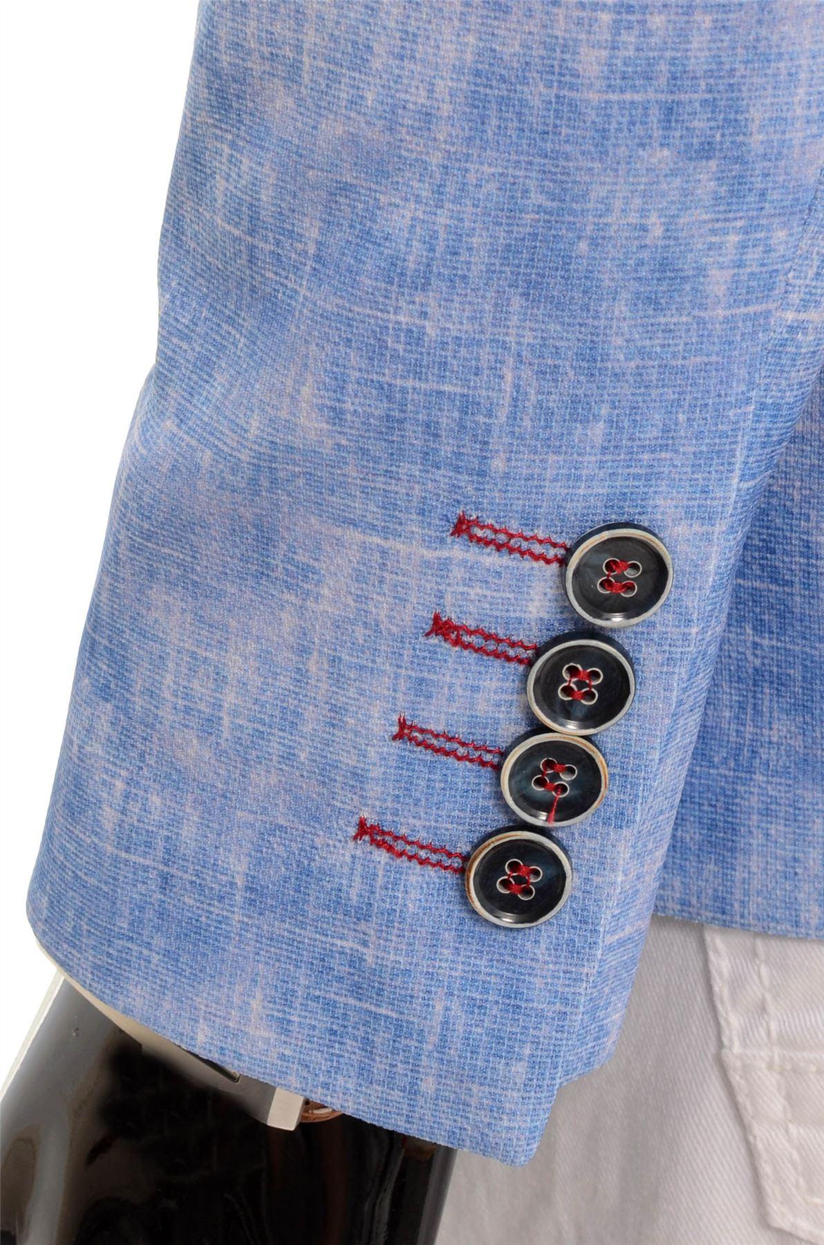 Men-039-s-Light-Blue-Blazer-Jacket-Casual-Smart-Slim-Fit-Summer-Red-Finish-Cotton thumbnail 7