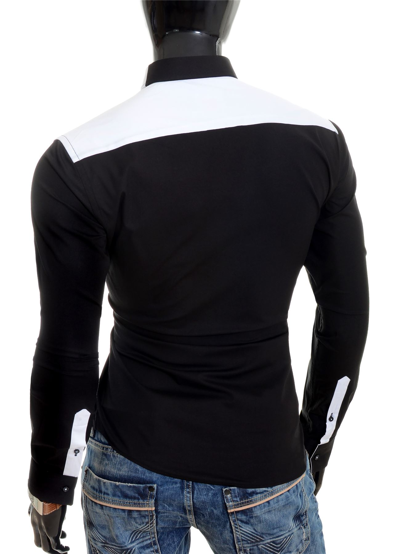 Cipo-amp-Baxx-Designer-Men-039-s-Elegant-Shirt-White-Black-Cotton-Slim-Contrast-Cuffs thumbnail 7