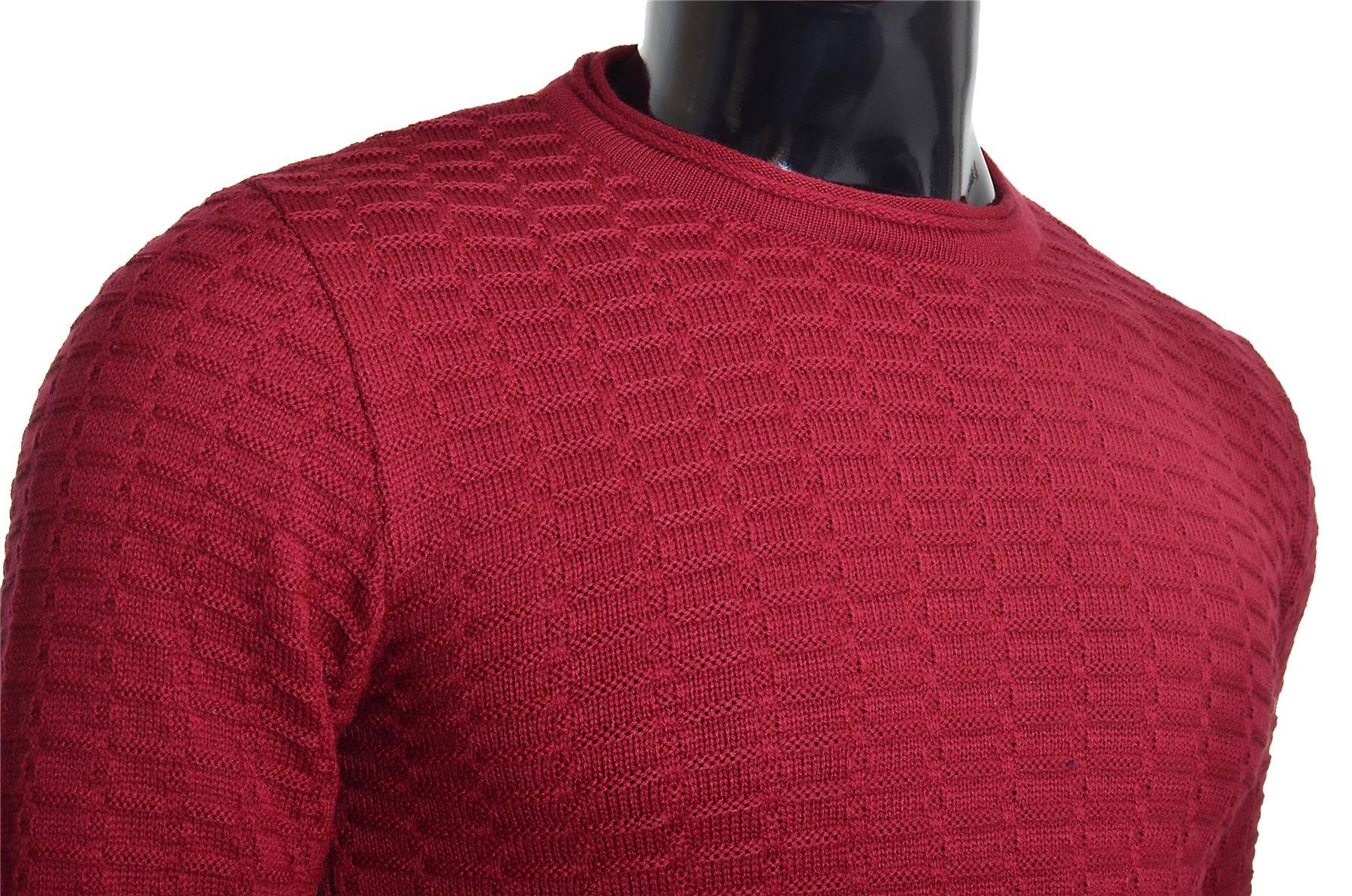 Men-039-s-Jumper-Striped-Knit-Smart-Long-Sleeve-Sweater-Crew-Neck-Top-Slim-Fitness thumbnail 5