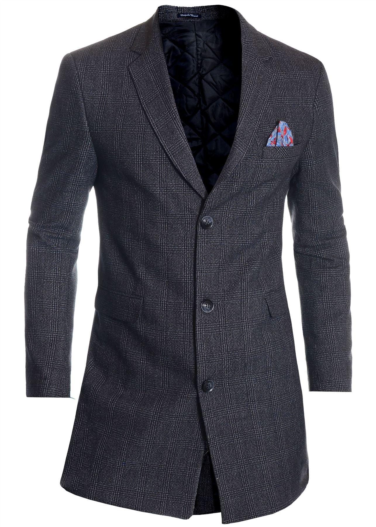 Men-039-s-Checkered-Coat-3-4-Long-Tweed-Cashmere-Wool-Trendy-Formal-Winter-Overcoat thumbnail 24