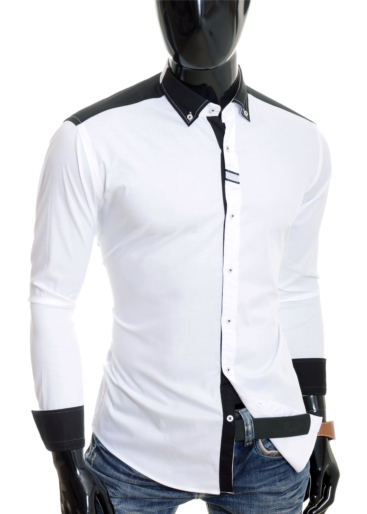 Cipo-amp-Baxx-Designer-Men-039-s-Elegant-Shirt-White-Black-Cotton-Slim-Contrast-Cuffs thumbnail 11
