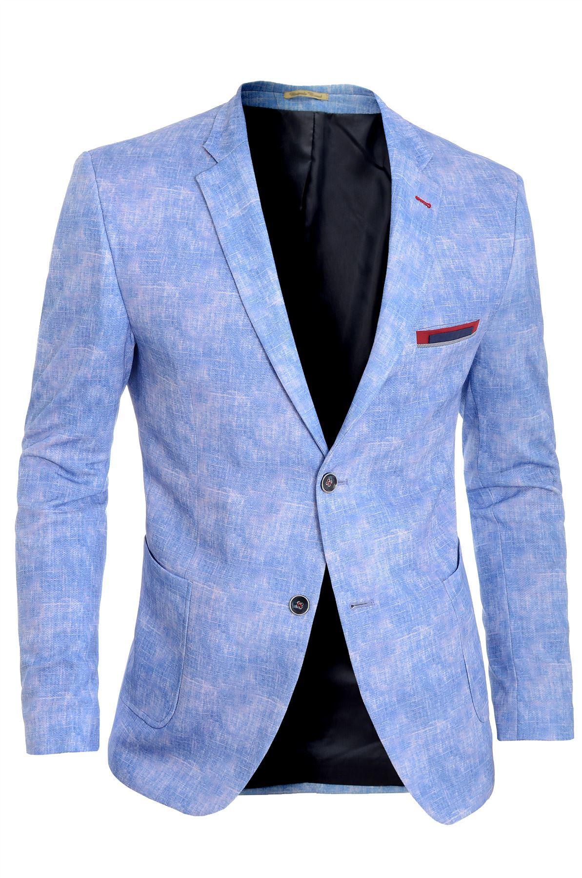 Men-039-s-Light-Blue-Blazer-Jacket-Casual-Smart-Slim-Fit-Summer-Red-Finish-Cotton thumbnail 4