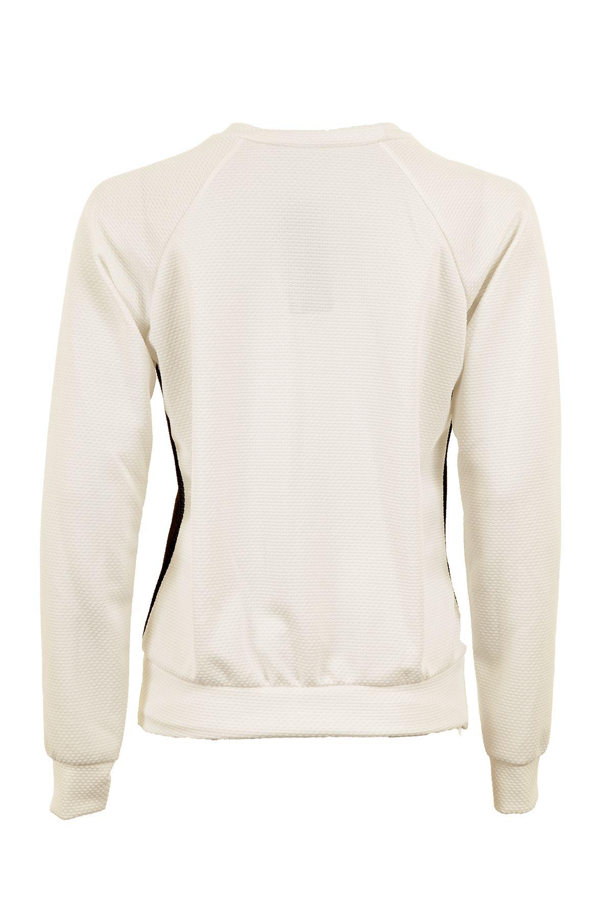 Women/'s White Black Scoop Neck Long Sleeve Panther Print Ladies Top Jumper