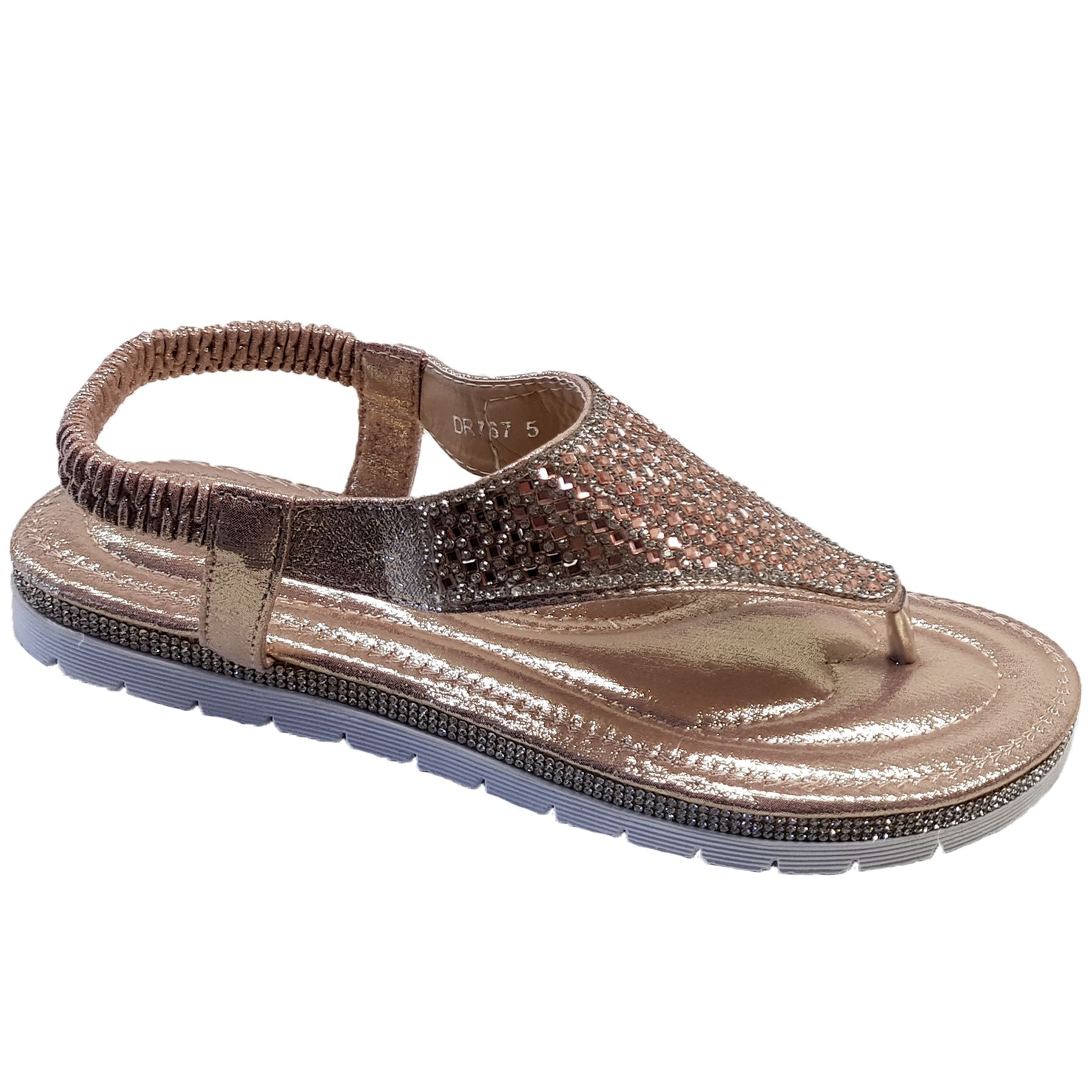 f6ca650bffe60 Womens Gem Diamante Slingback Toe Post simili cuir mode Thong sandales
