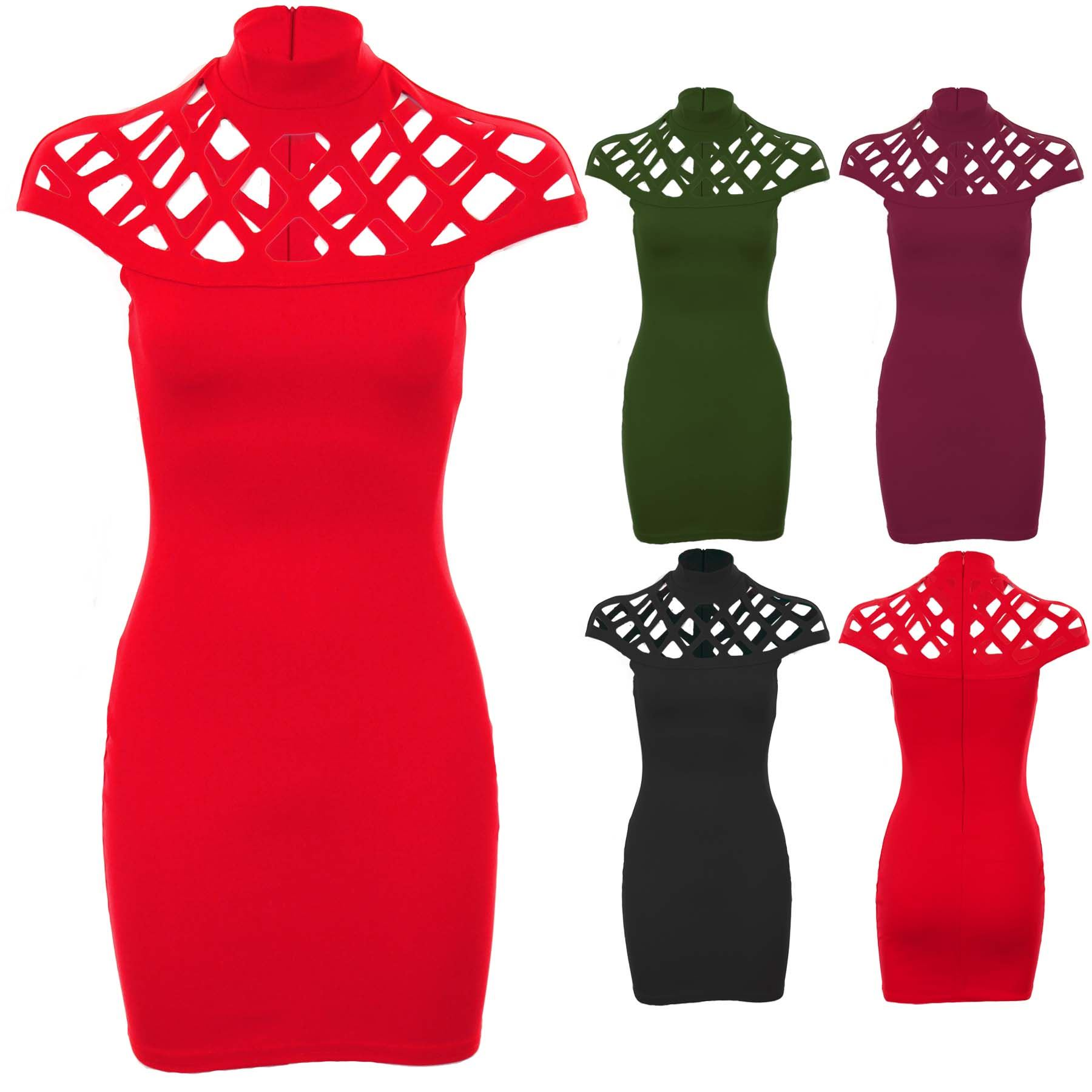 98dfb49822 Details about Ladies Celeb Jemma Caged Laser Cut Out Cap Sleeve Bodycon  High Neck Dress