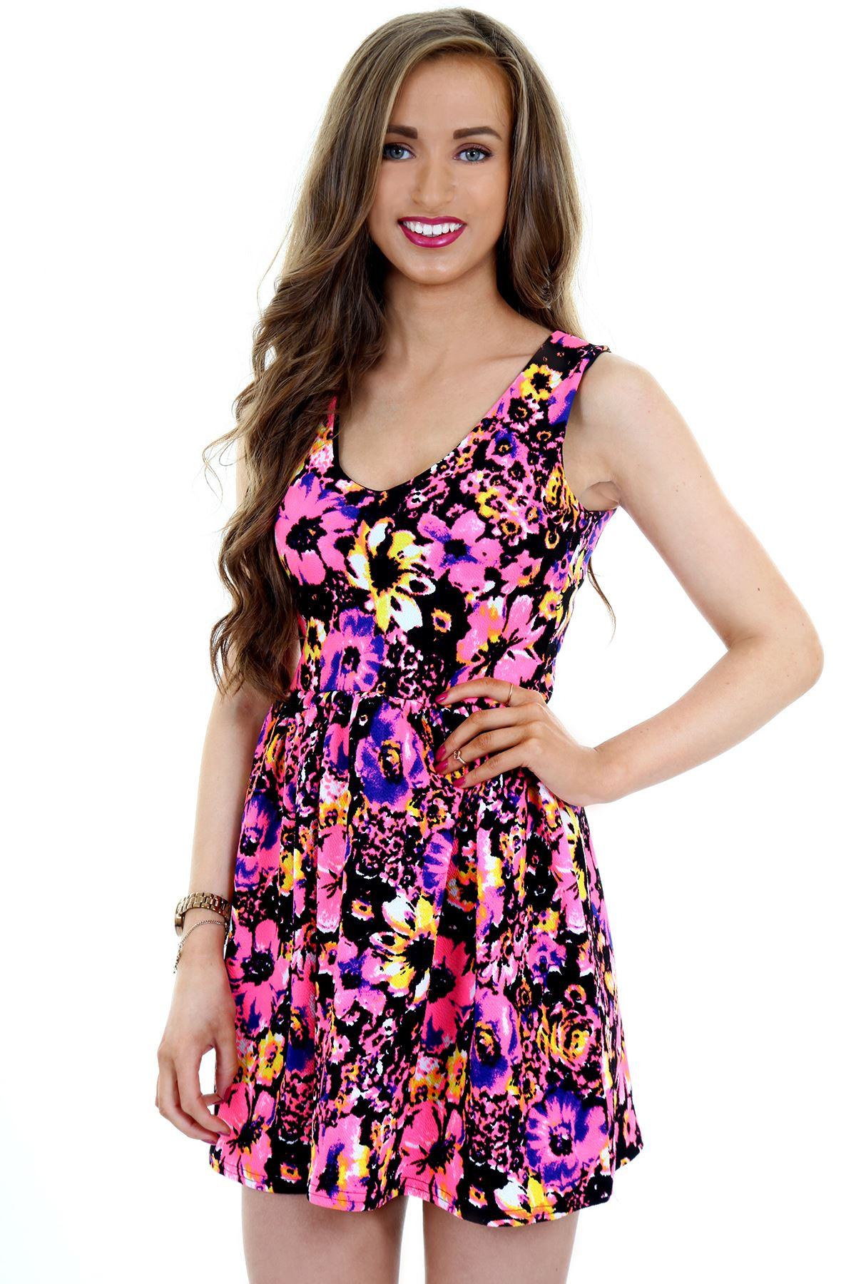 New Womens Ladies Short Sleeve Floral Skater Flared Party Dress