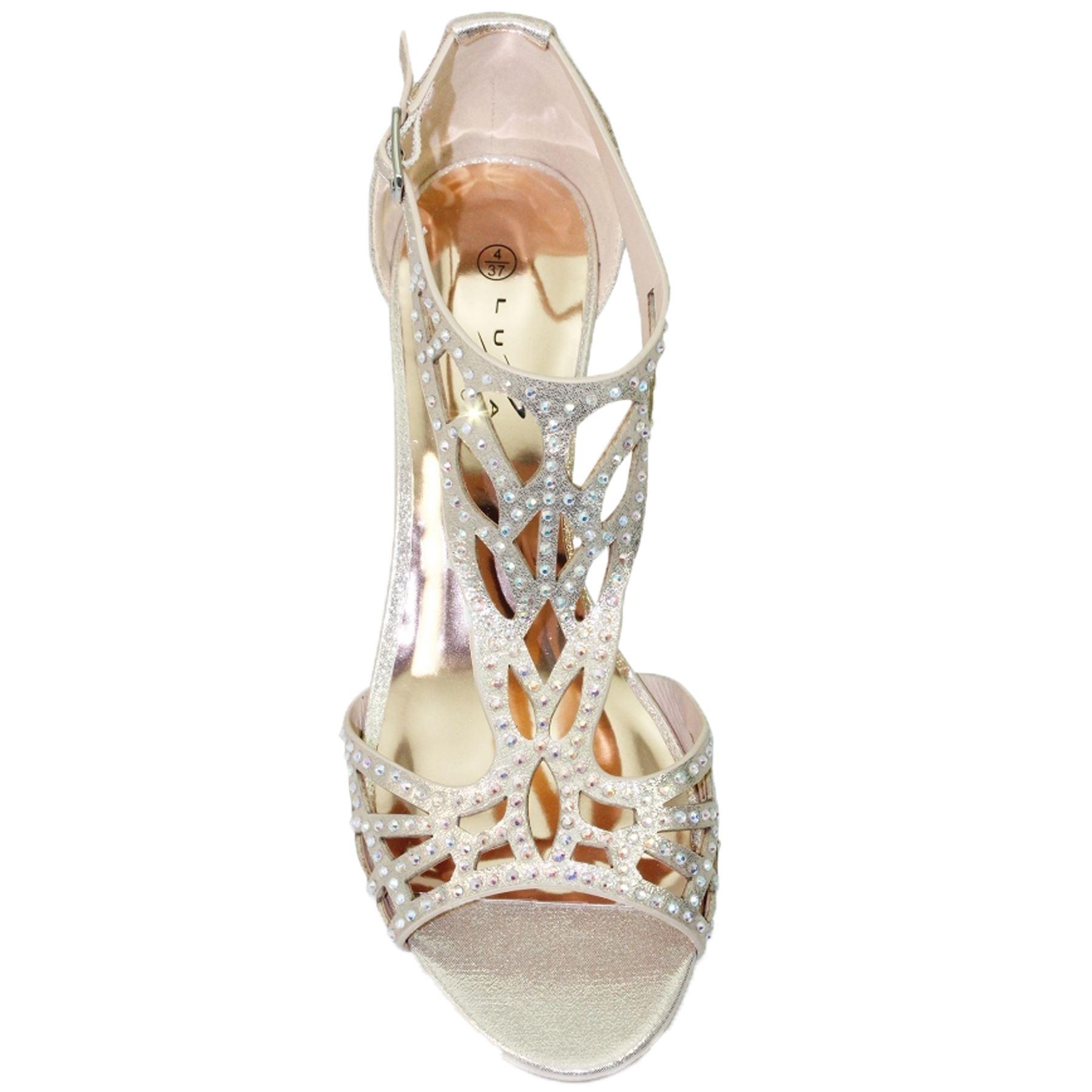 FLC111 Denton Strap Diamante Bag Rhinestone Peep Toe Wedge Sandales Bag Diamante Clutch 71df0b