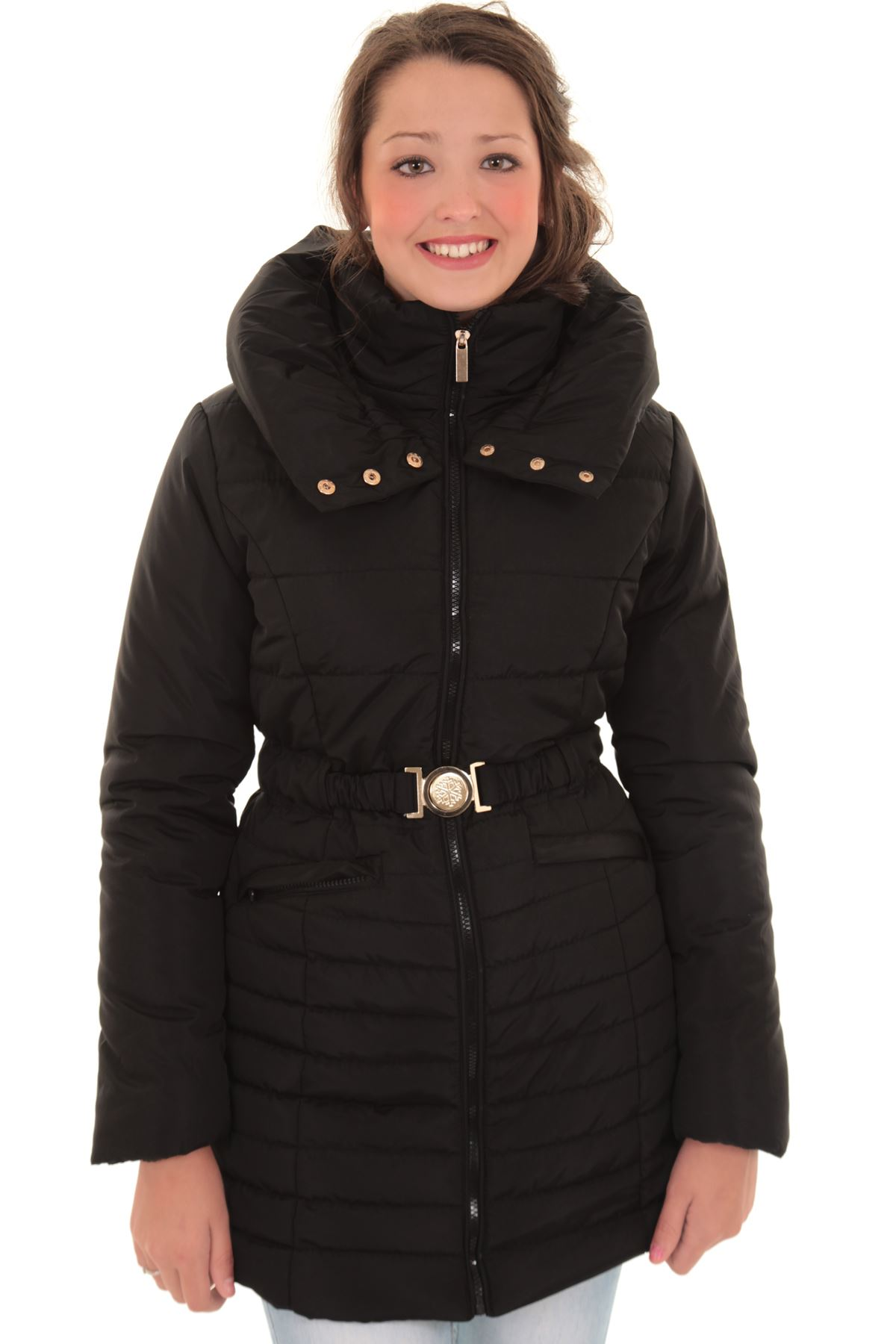 84dfb97161 Women's Padded Quilted Belted Puffer Beige Black Ladies Winter Coat ...