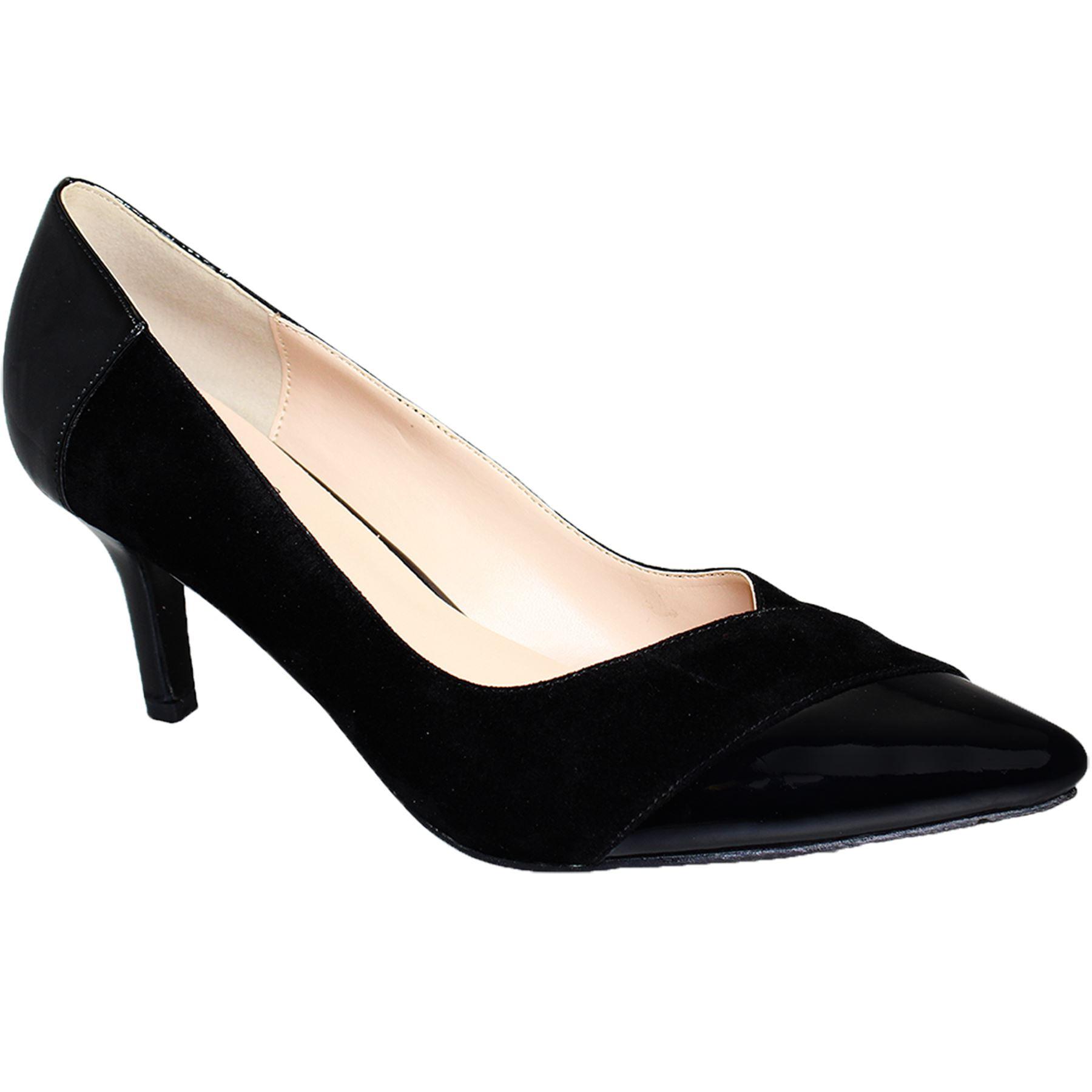 Charol Contraste Bajo De Zapatos Mujer Tacón Detalles Elegante En Ante Punta DHE2YIW9