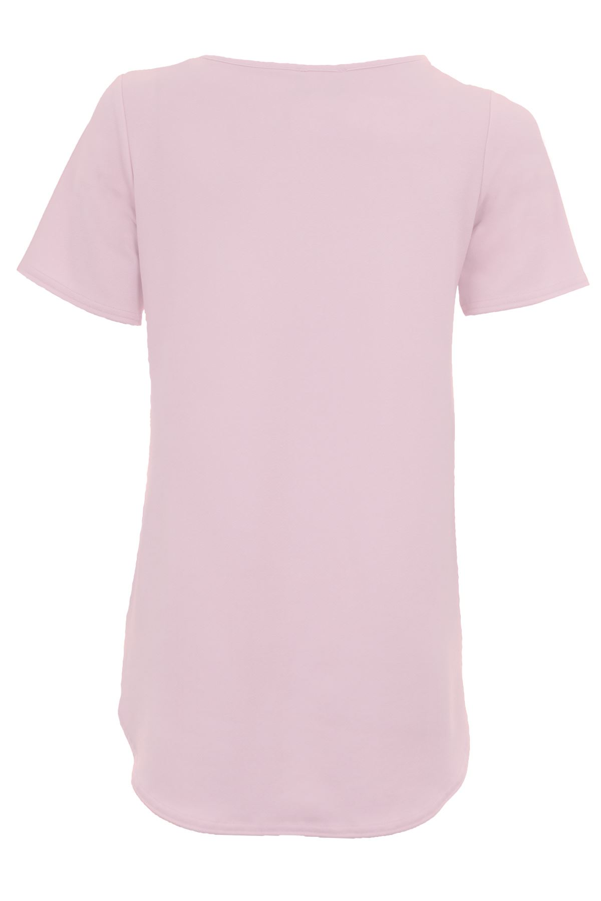 Ladies-Short-Sleeve-Crepe-Textured-Oversized-Women-039-s-High-Low-T-Shirt-Top thumbnail 13