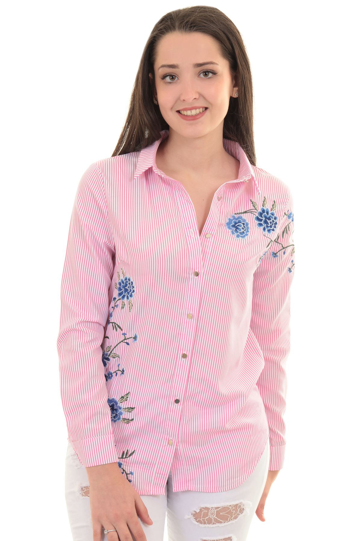 manga larga mujer grande flores bordadas a rayas con botones Camisa ...