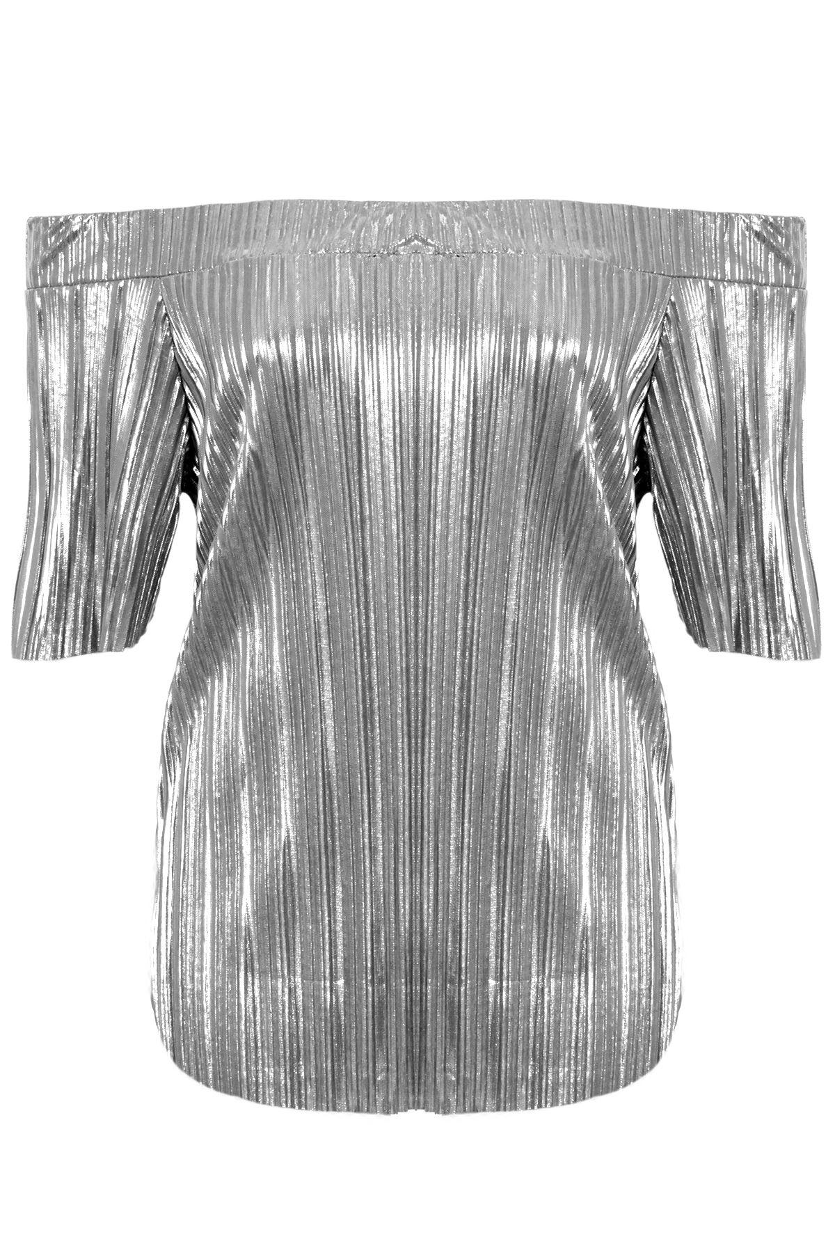 111cc91f2af Ladies Short Sleeve Bardot Off Shoulder Pleated Foil Metallic Stretch Party  Top | eBay