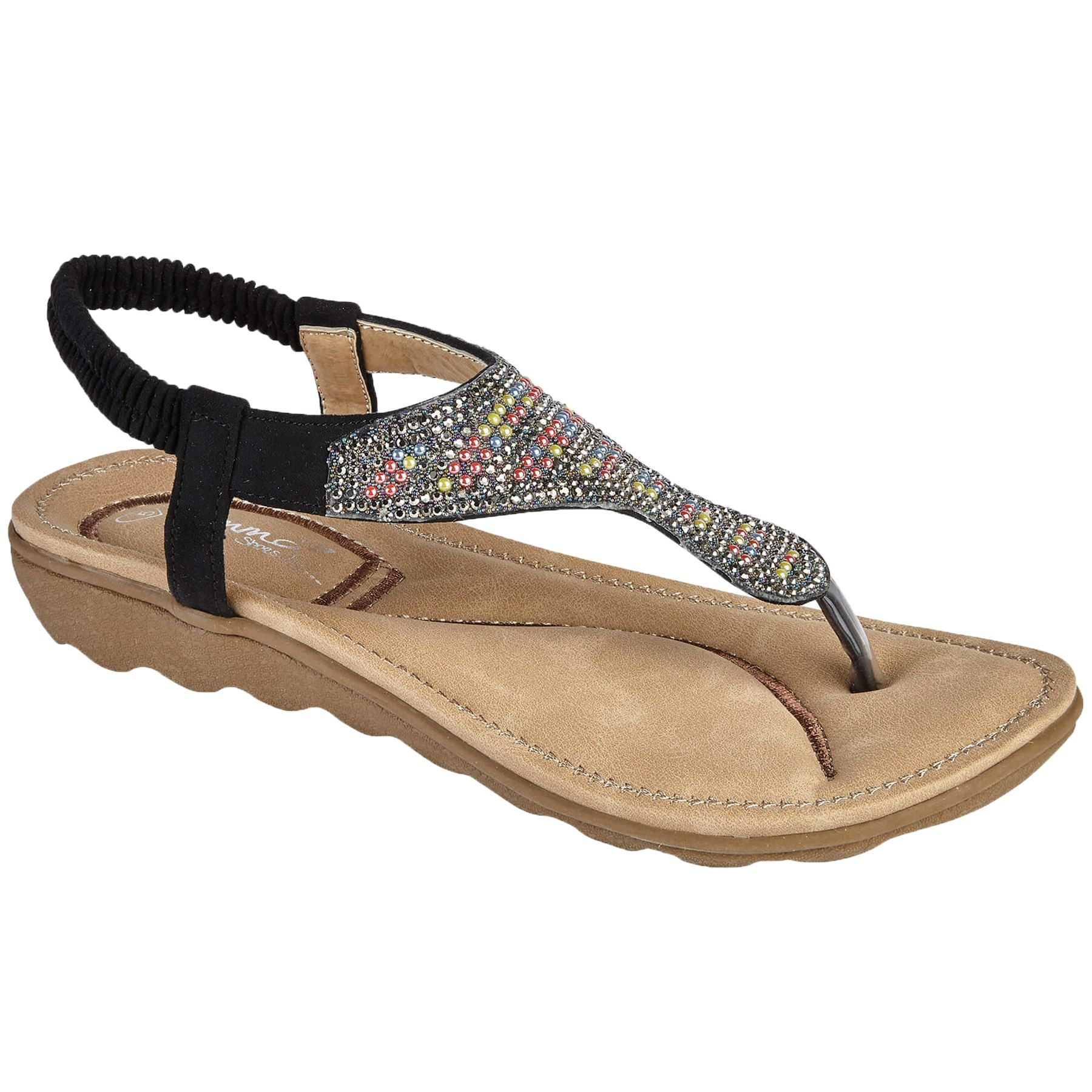 22ebeb4aa5ed52 TASMANIA Ladies Toe Post Diamante Elastic Sling Back Beaded Thong Sandals