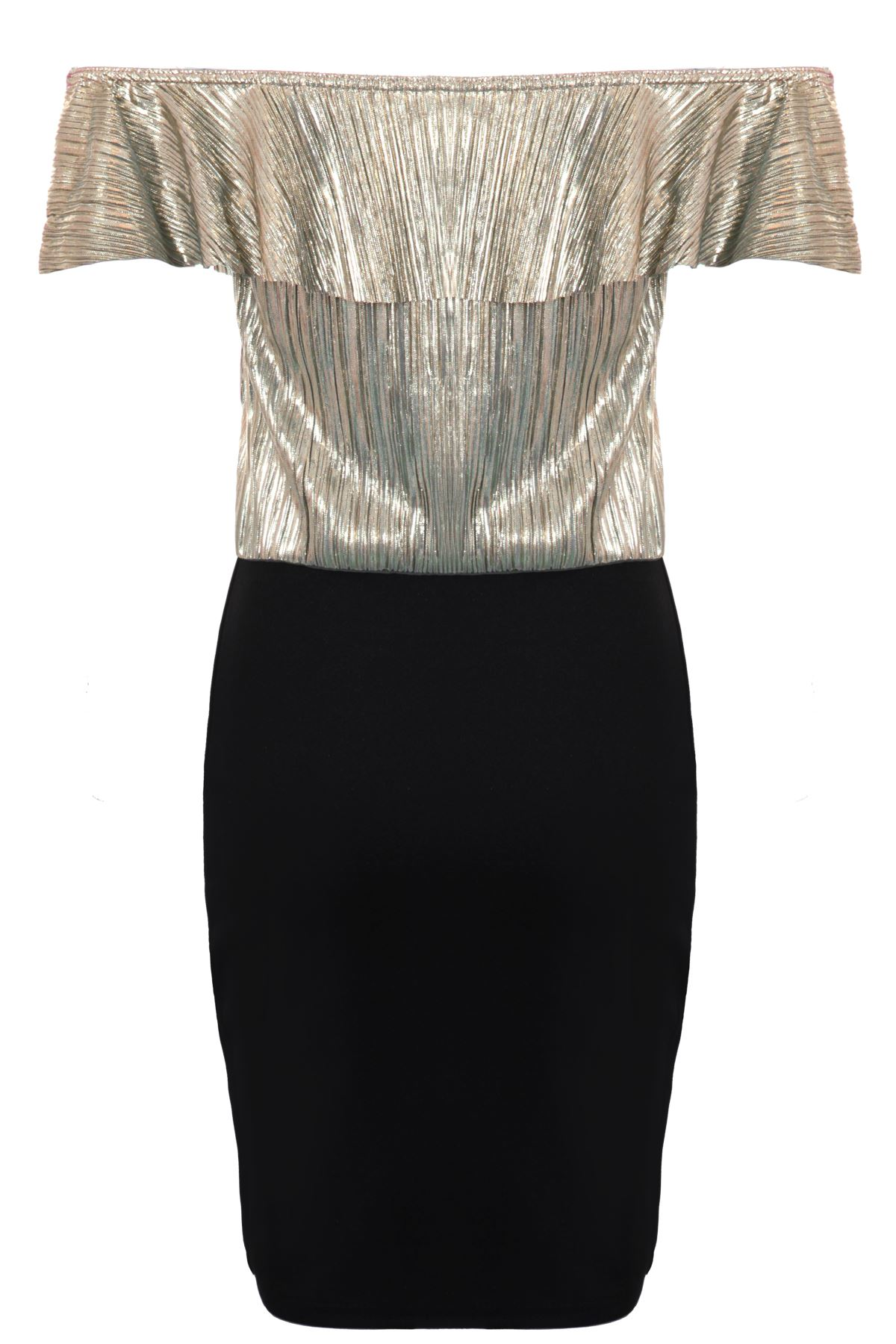 Ladies Ruffle Bardot Off Shoulder Metallic Crinkle Glitter TwoTone Bodycon Dress