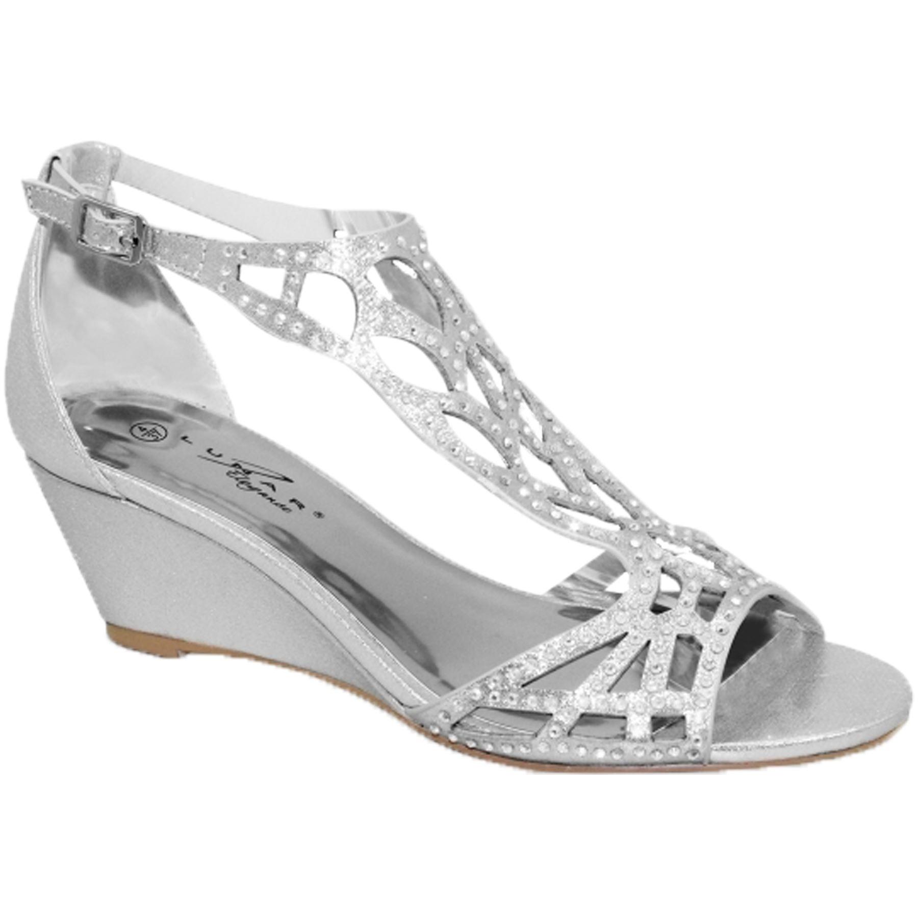 0b46d75f7 FLC111 Denton Rhinestone Strap Diamante Peep Toe Wedge Sandals ...