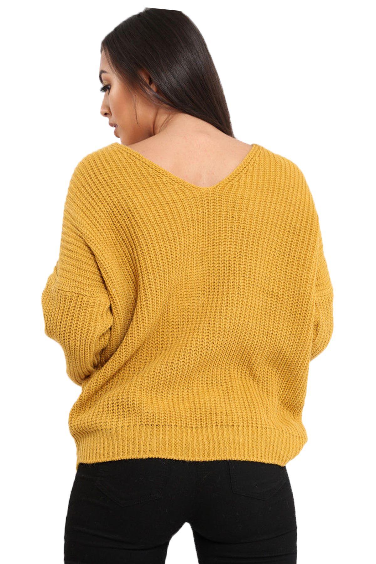 Ladies Twist Knot Wrap Reversible Baggy Italian Knitted Jumper Top Baggy