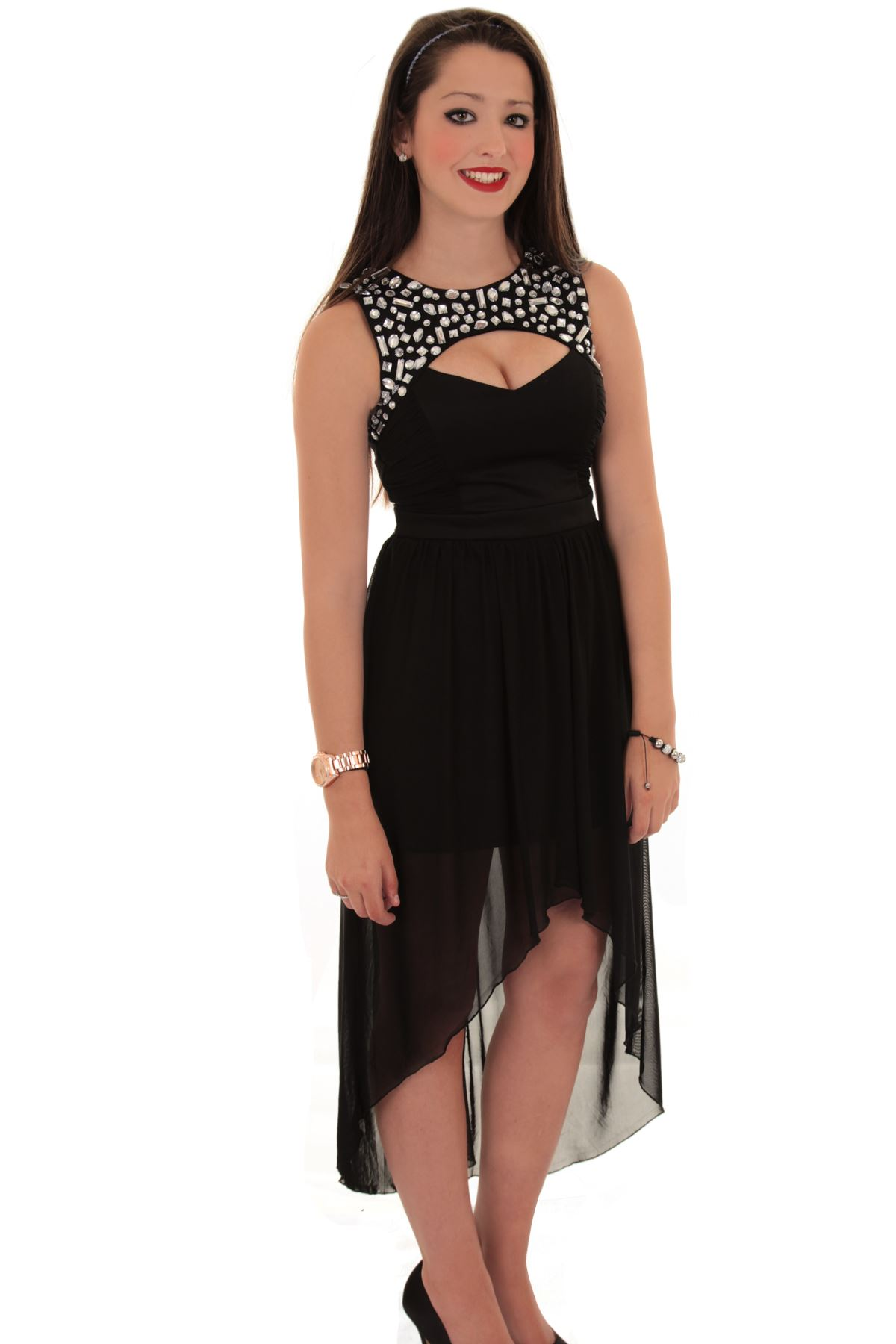 d561d78f11 Ladies Diamante Cut Out Front Gathered High Low Maxi Long Chiffon Fishtail  Dress