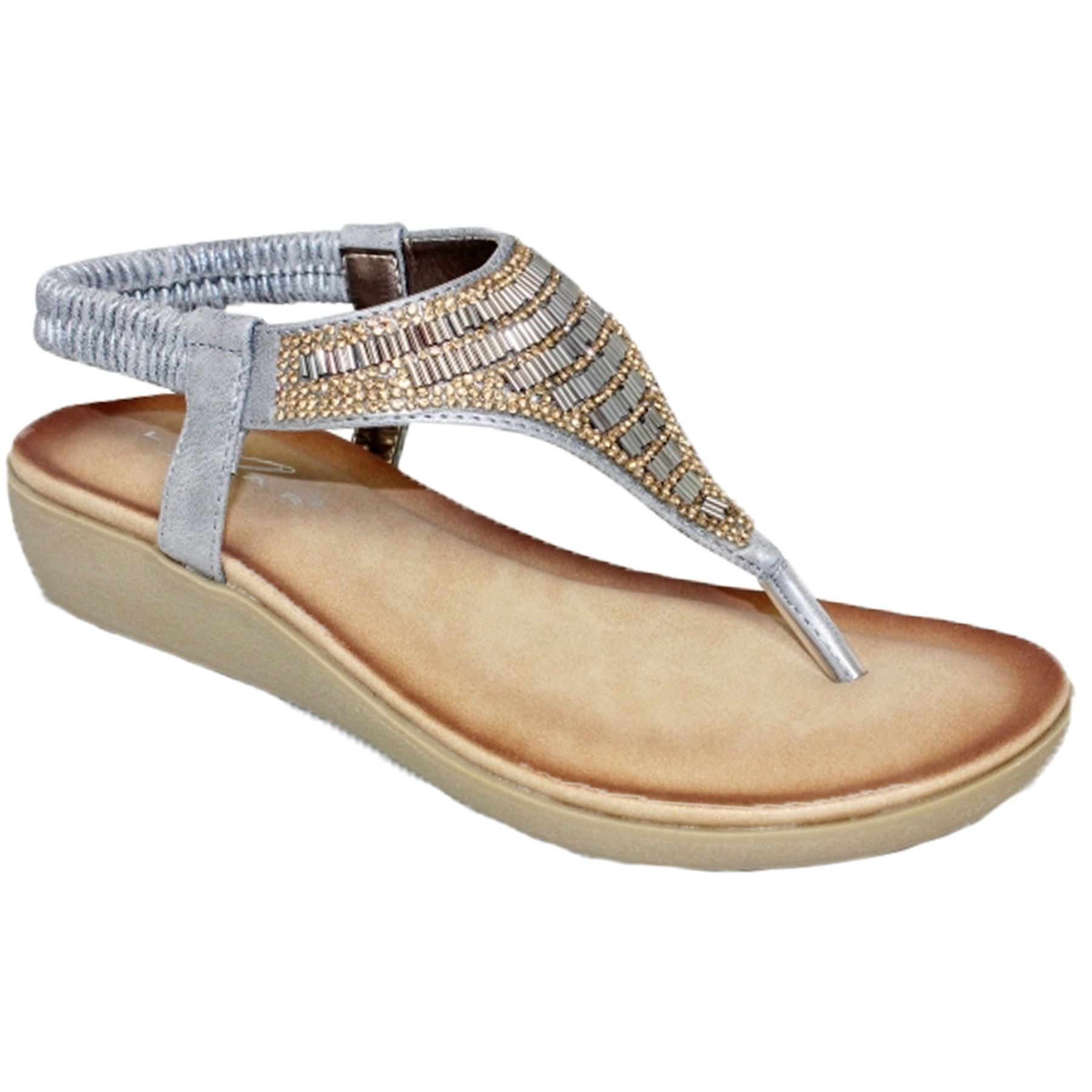 Jlh908 Adeline Gemstone Elasticated Ankle Strap Padded Insole Tendencies Sandals Footbed 2 Brown 42