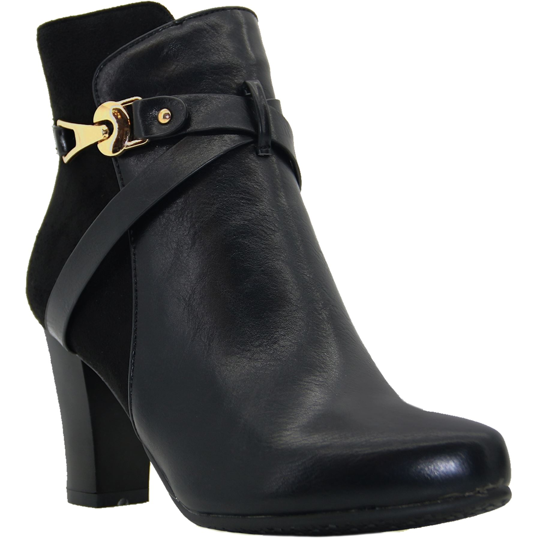 Ankle Strap Black Faux Cross Pointed Capri Contrast Leather Glc532 Boots Smart Suede qwz0BPg