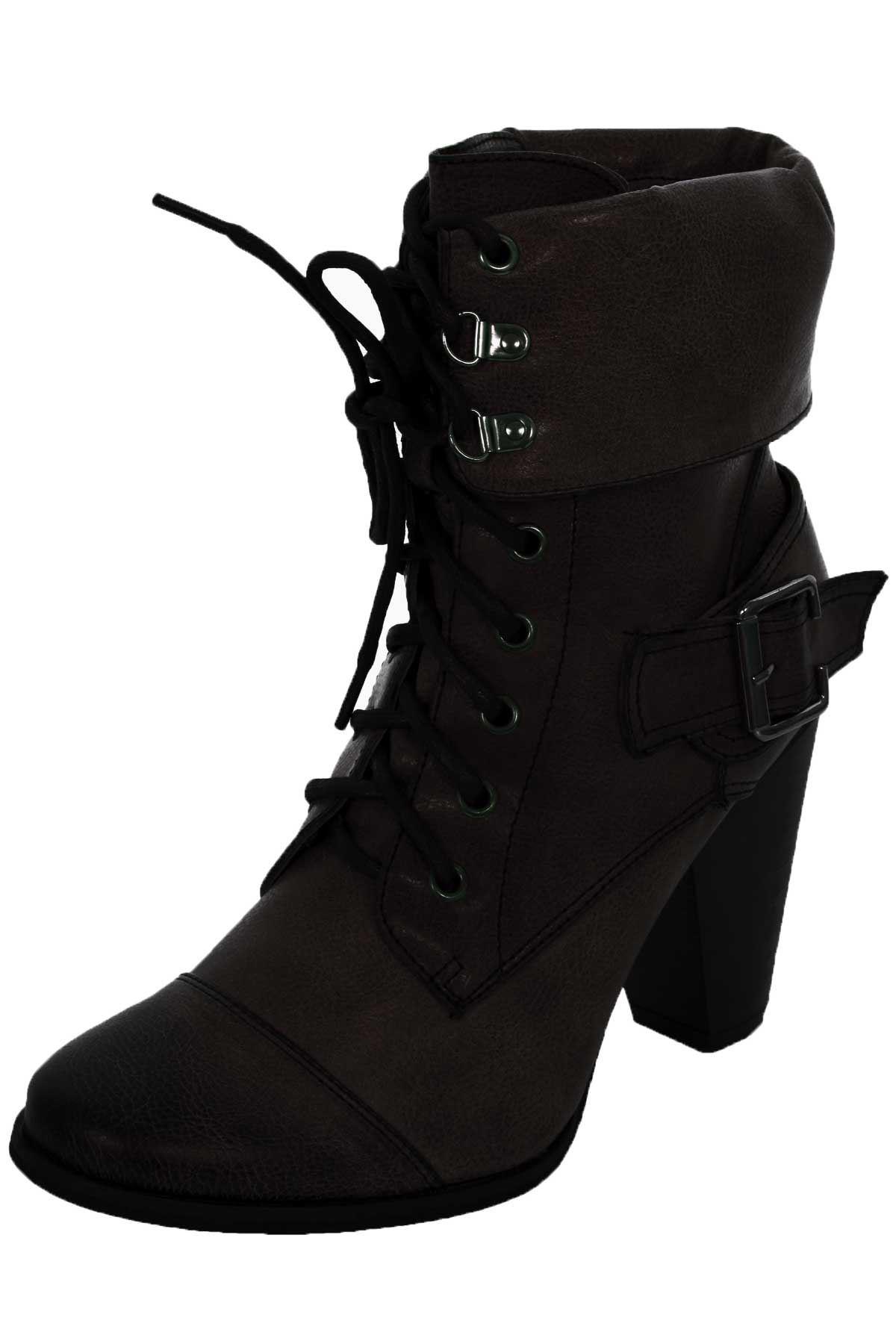 acb17365c2c Las mujeres deslizan en encaje frontal PU imitación señoras de cuero botas  de tacón grueso