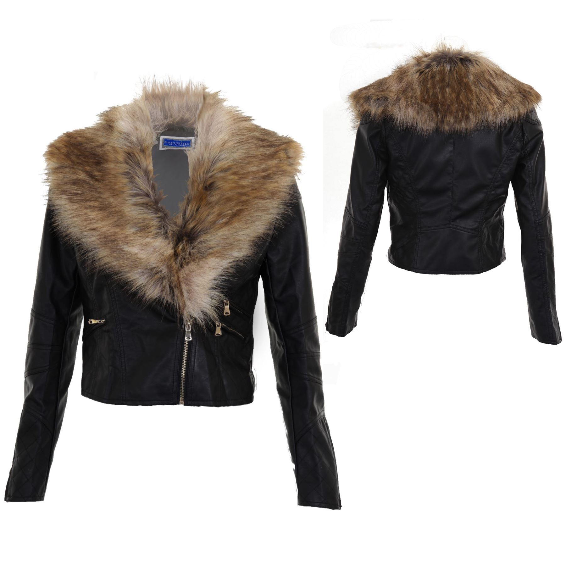 Women S Crop Synthetic Leather Detachable Faux Fur Collar Ladies