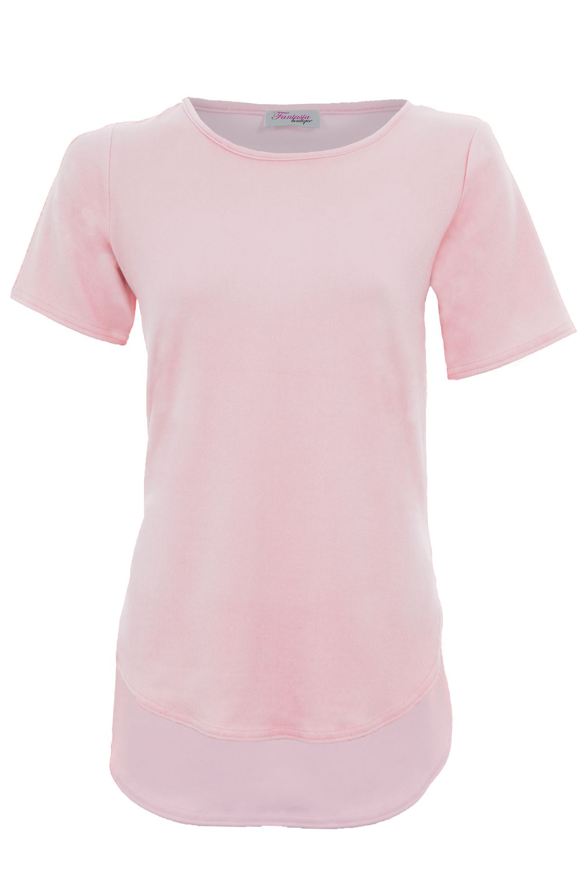 Ladies-Short-Sleeve-Crepe-Textured-Oversized-Women-039-s-High-Low-T-Shirt-Top thumbnail 12