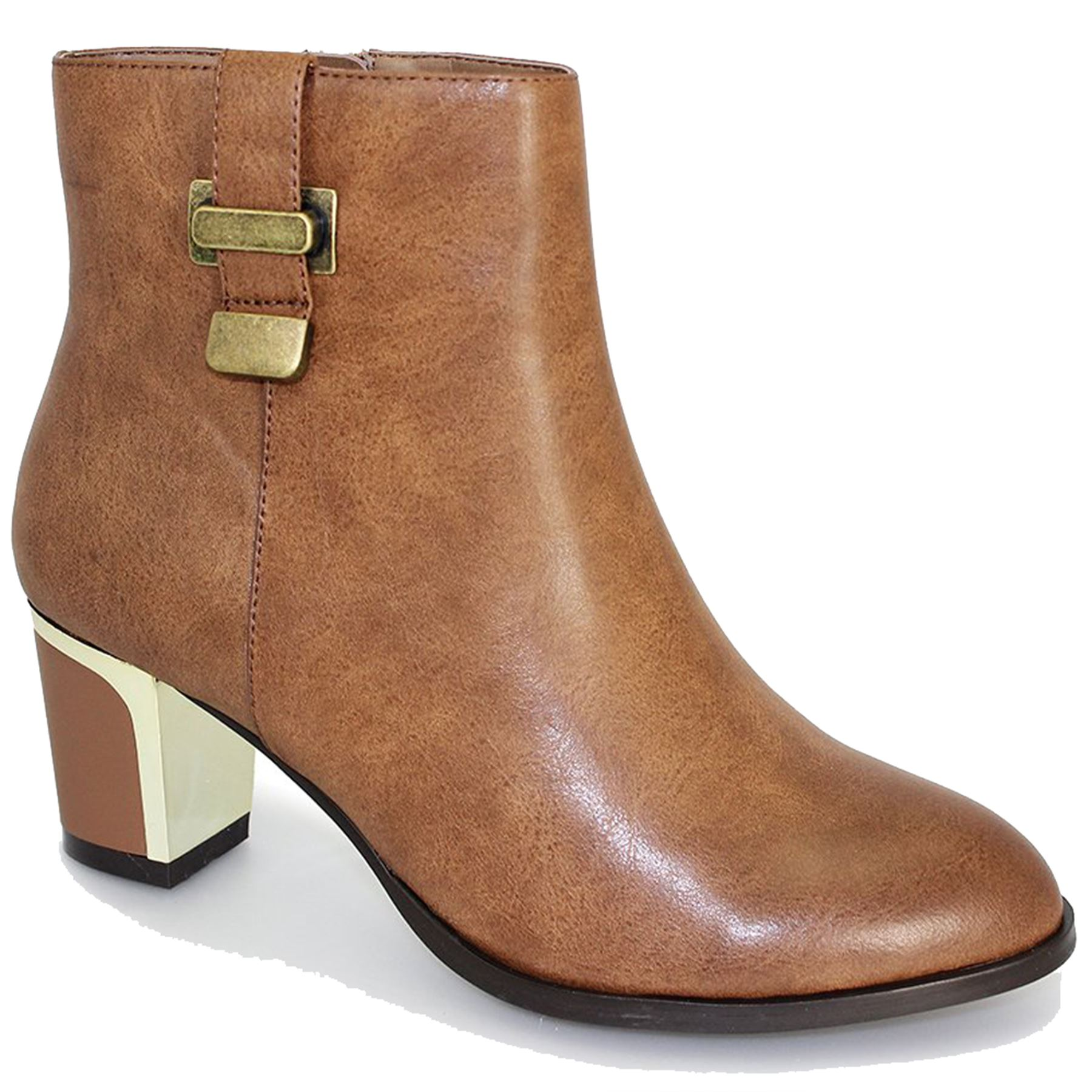 Block Heel Pu Tan Gle016 Ankle Boots Leather Giselle Casual Toe Pointed Ladies 4xq4XOwI