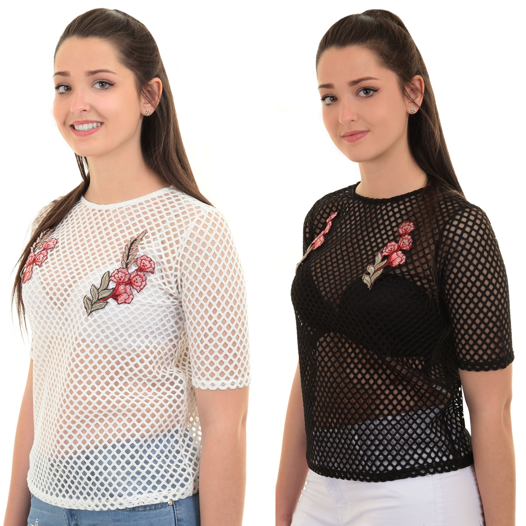 239b111c06f3f Details about Womens Semi Sheer Mesh Fish Net Short Sleeve Floral  Embroidered Top T-Shirt