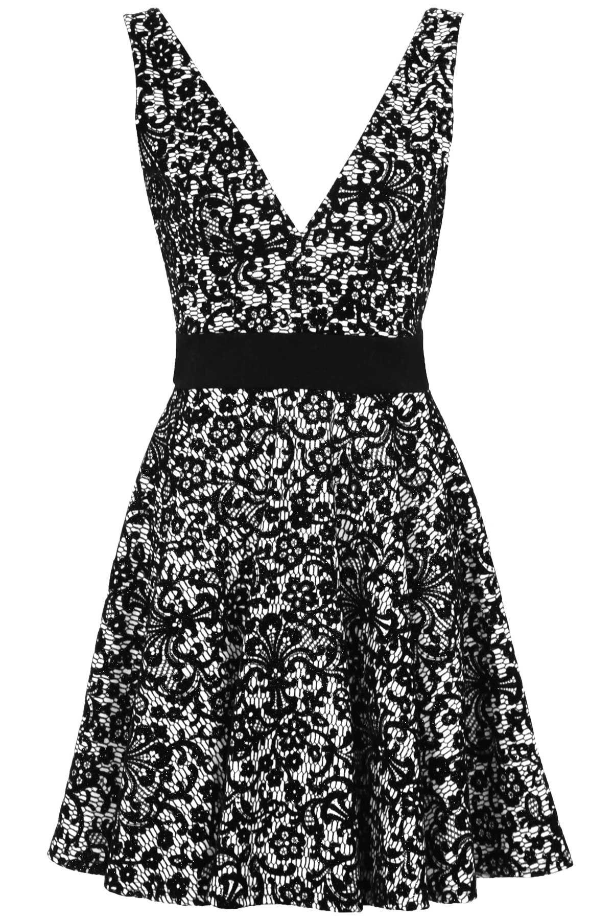 93267b7783ae V collo basso schiena Glitter gregge floreale Ladies Skater Flare Party  Dress donne