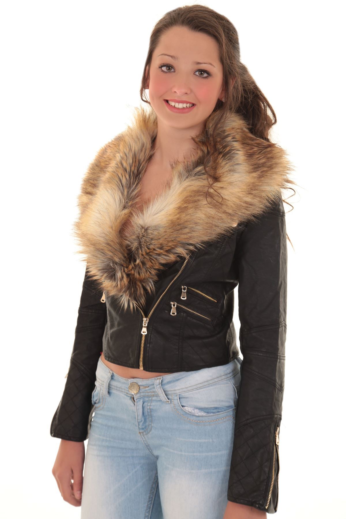Ladies Detachable Faux Fur Collar Women S Crop Synthetic Leather