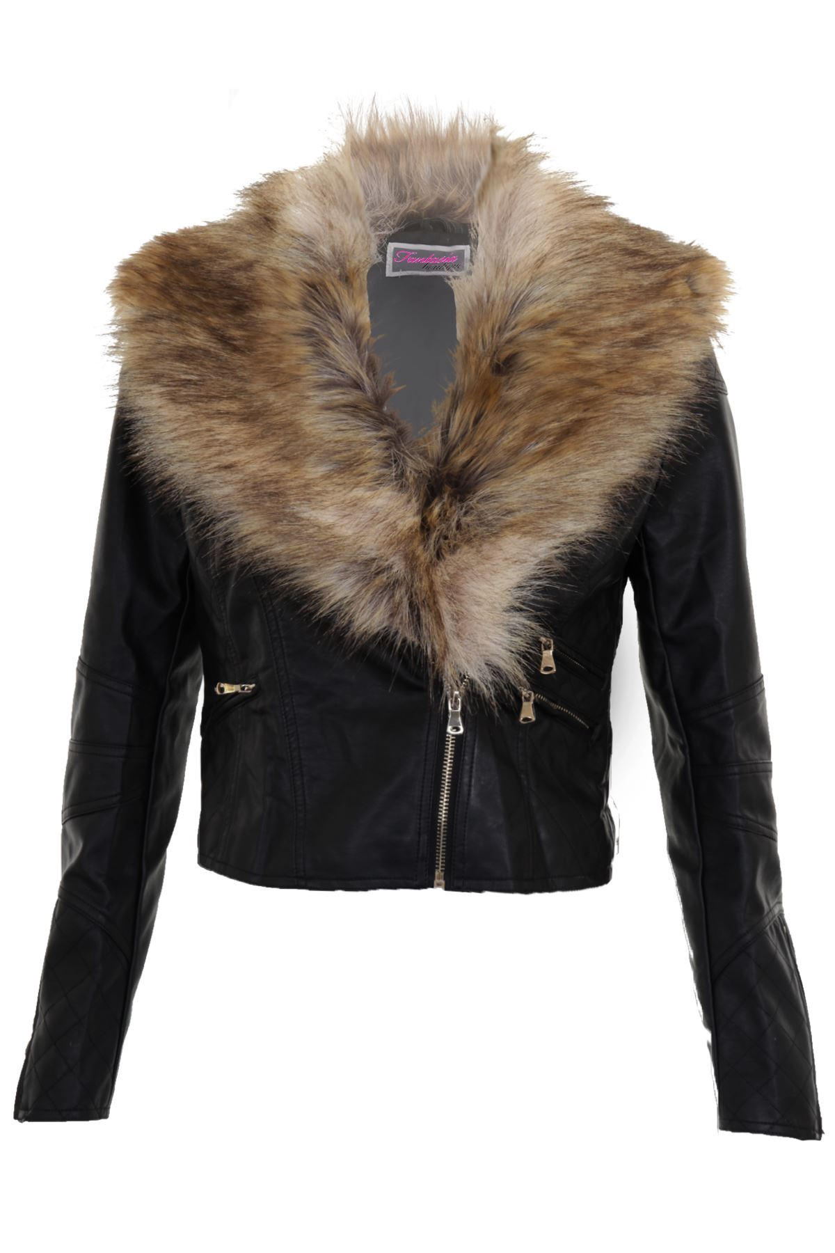 ladies leather biker jacket with fur collar