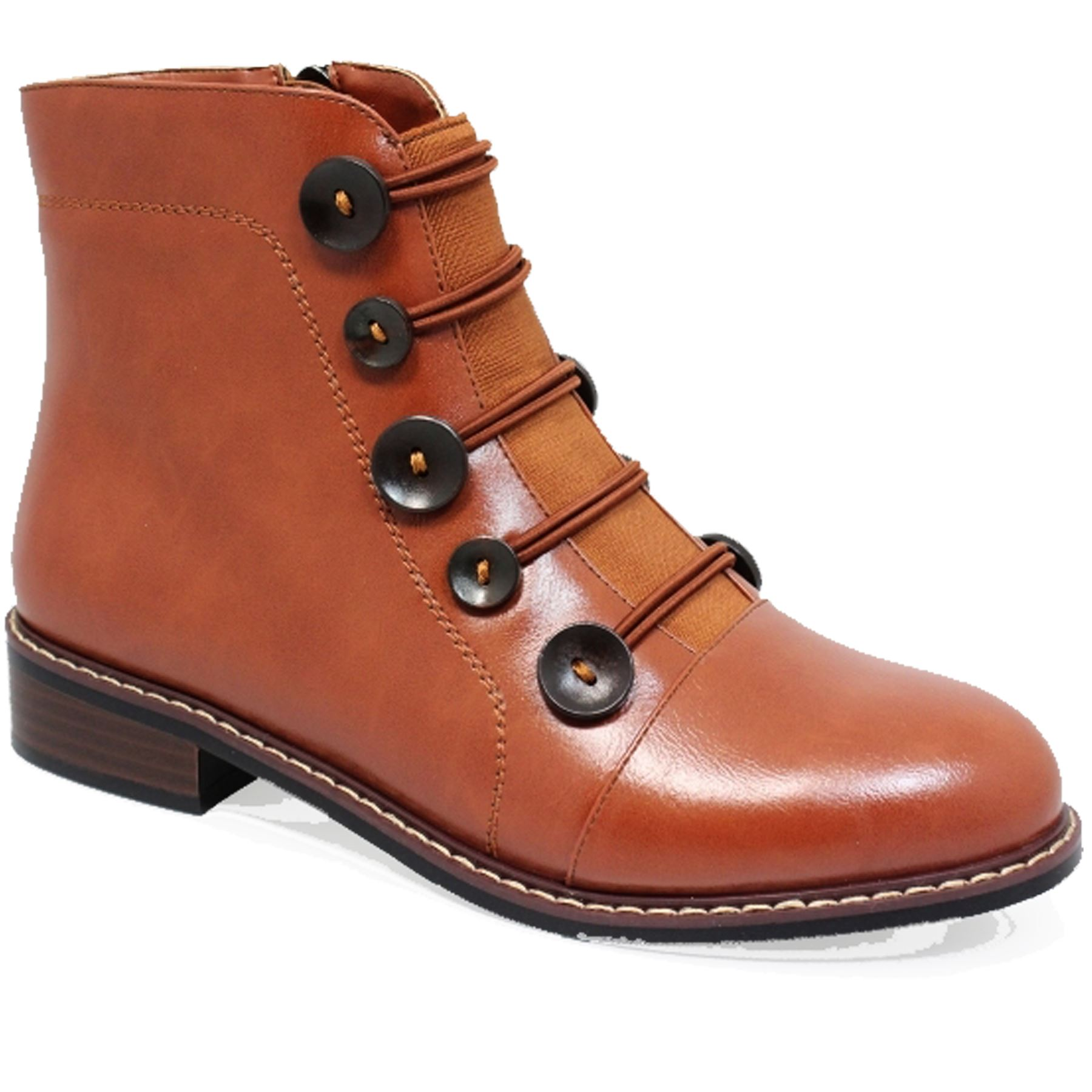 GLC649 Sinead Faux Elasticated Leather Side Zipper Ankle Elasticated Faux Button Boots a92189